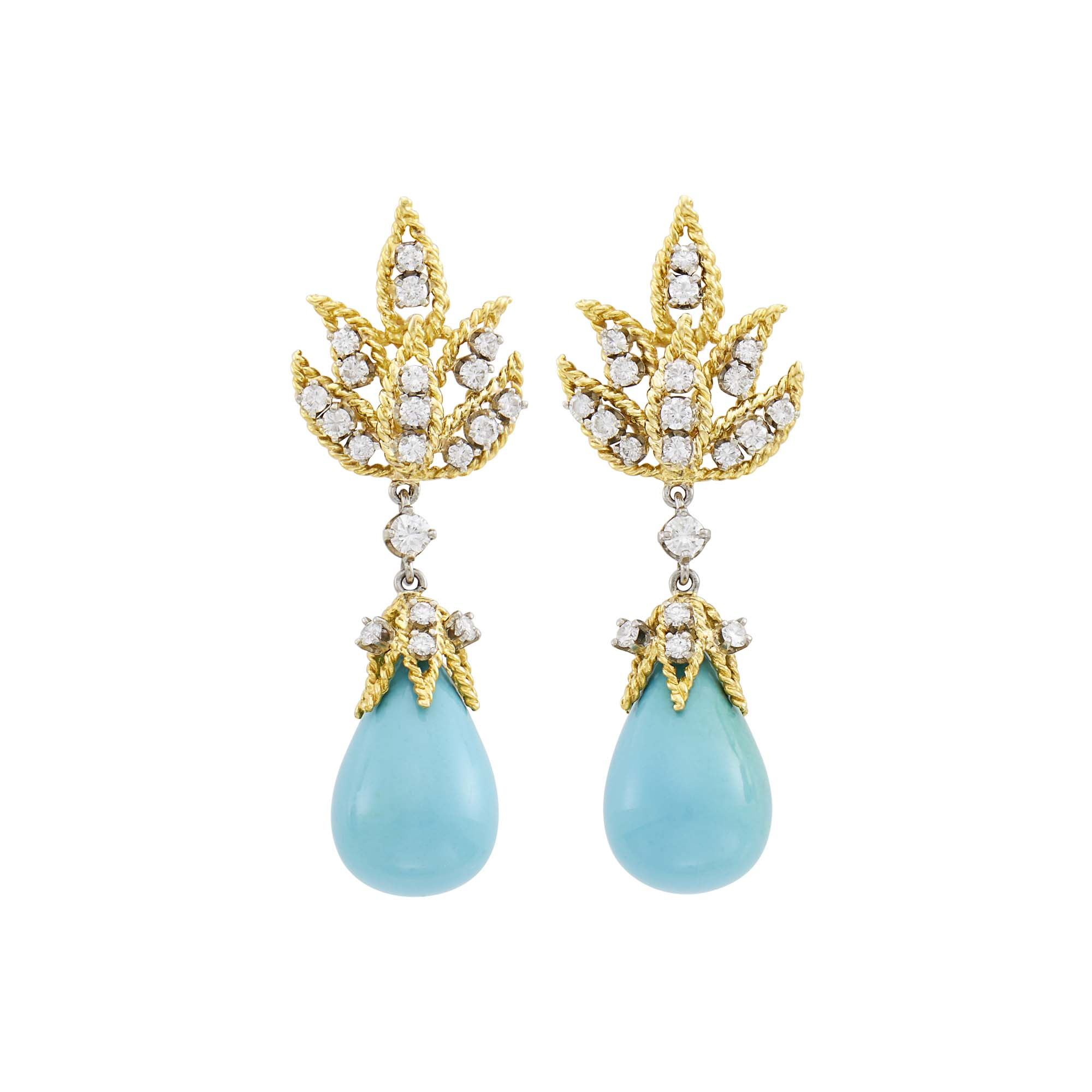 Lot image - Pair of Gold, Platinum, Turquoise and Diamond Pendant-Earrings