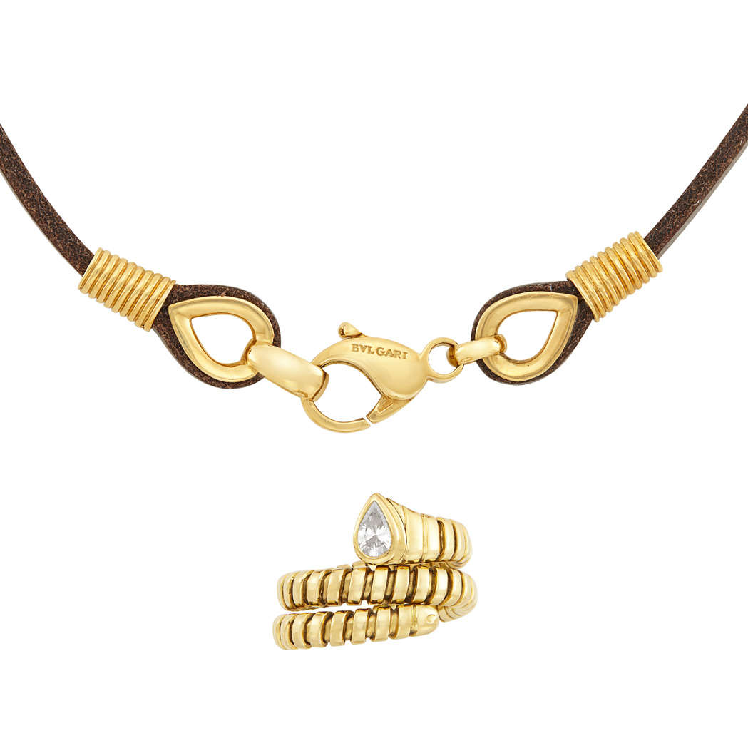 Lot image - Gold and Diamond Serpenti Snake Ring and Gold and Leather Necklace, Bulgari