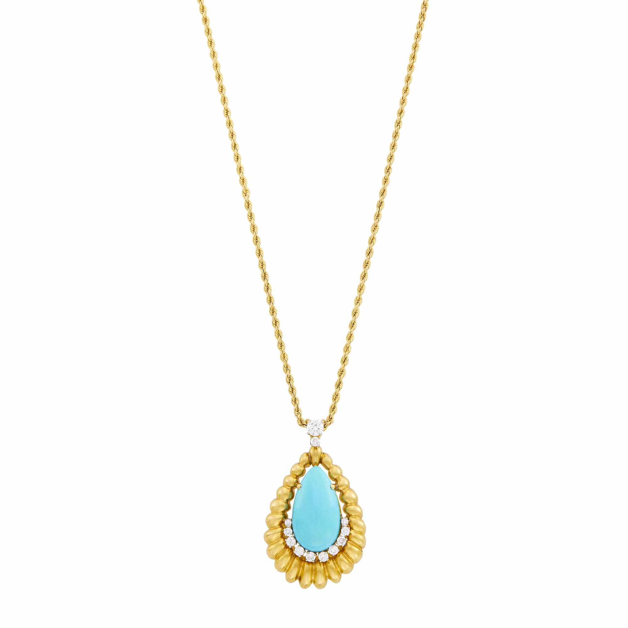 Lot image - Gold, Turquoise and Diamond Pendant with Chain Necklace