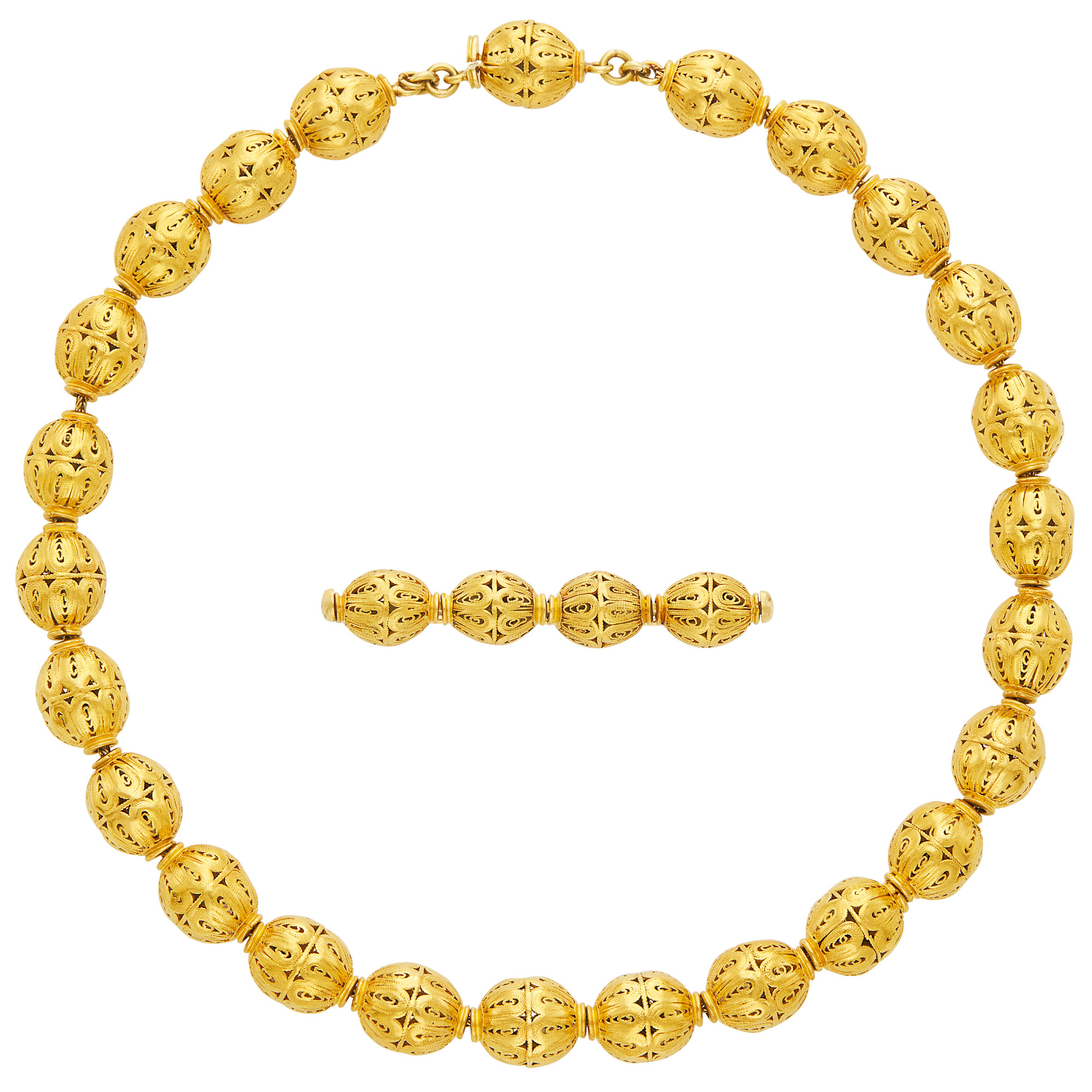 Lot image - Gold Bead Necklace and Bar Pin