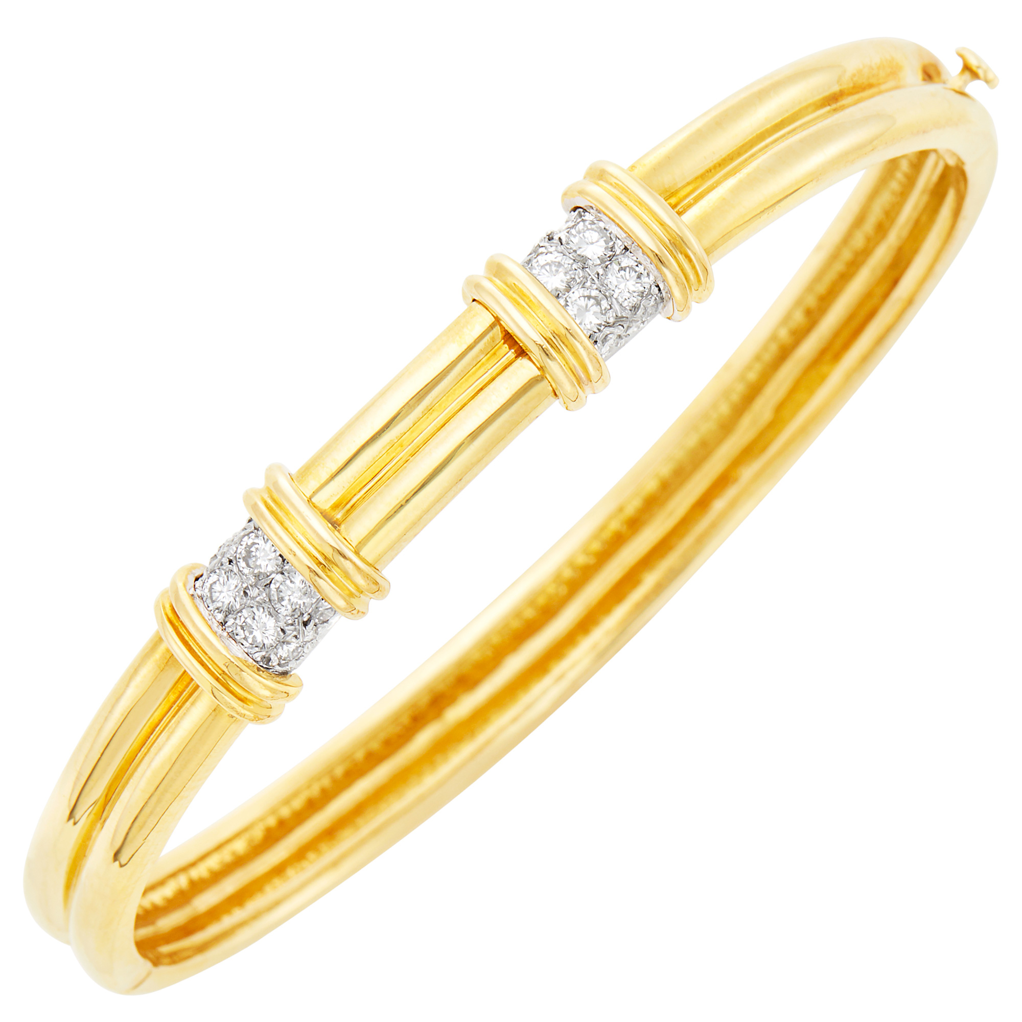 Lot image - Tiffany & Co. Two-Color Gold and Diamond Bangle Bracelet
