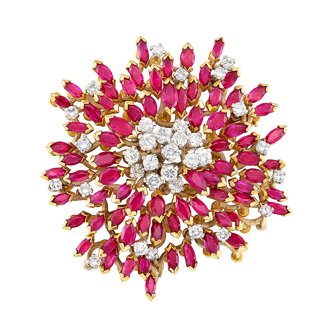 Lot image - Gold, Ruby and Diamond Brooch, Grima
