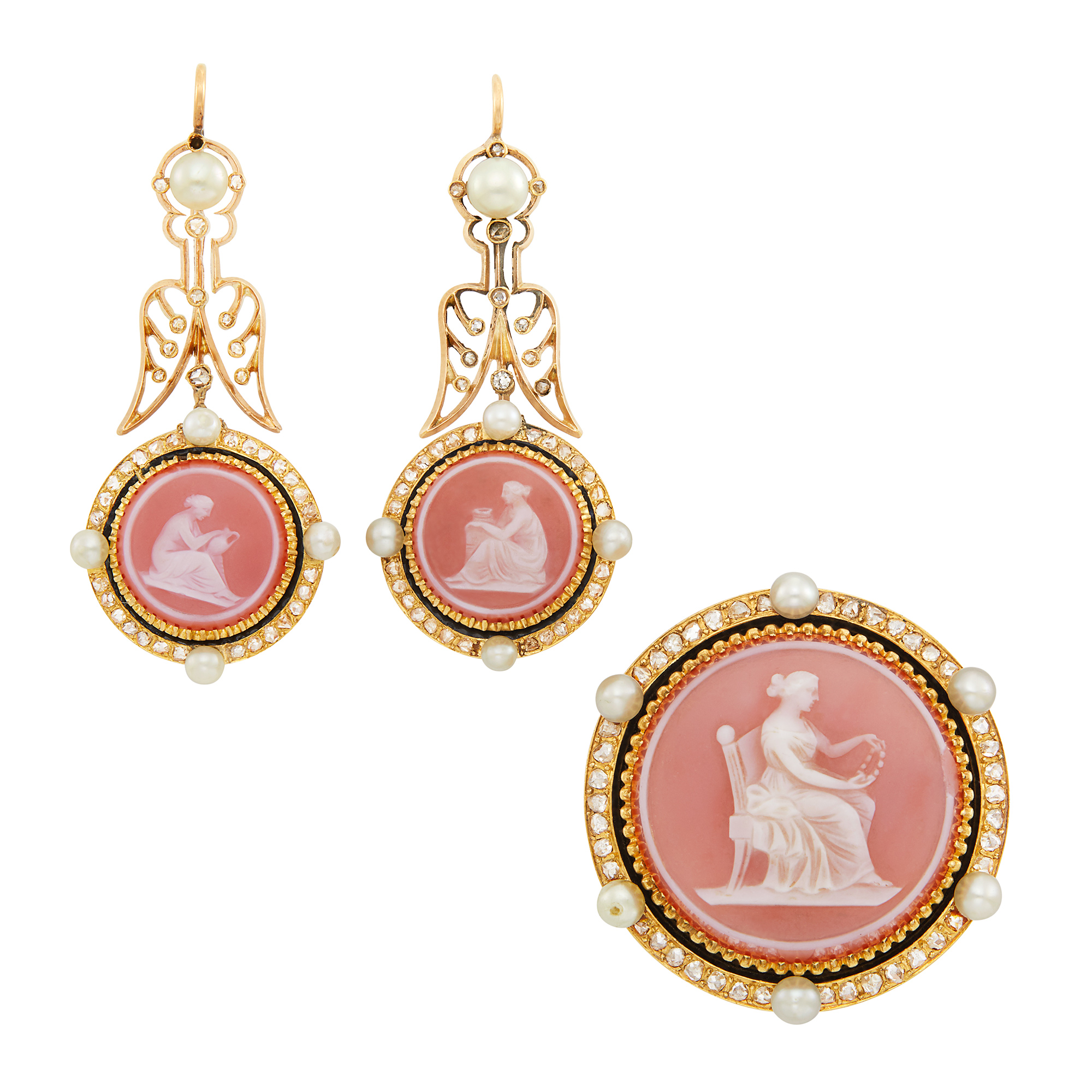 Lot image - Pair of Antique Gold, Carnelian Cameo, Button Pearl, Diamond and Enamel Pendant-Earrings and Pendant-Brooch