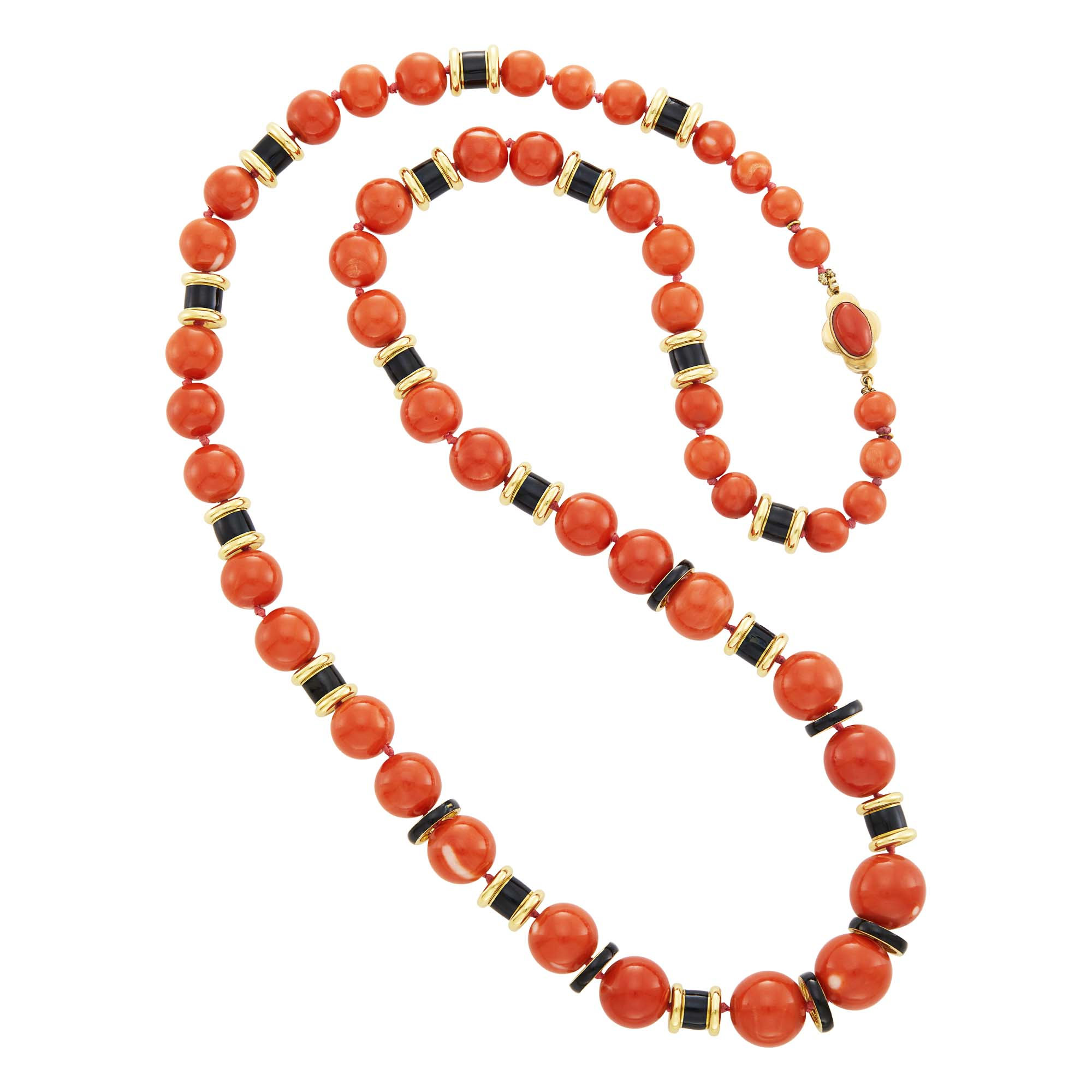 Lot image - Long Gold, Coral Bead and Black Enamel Necklace