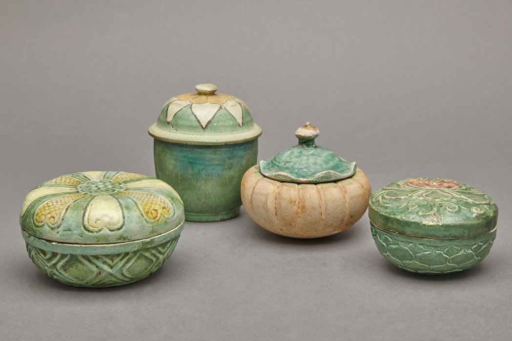 Lot image - Group of Four Chinese Glazed Pottery Jarlets