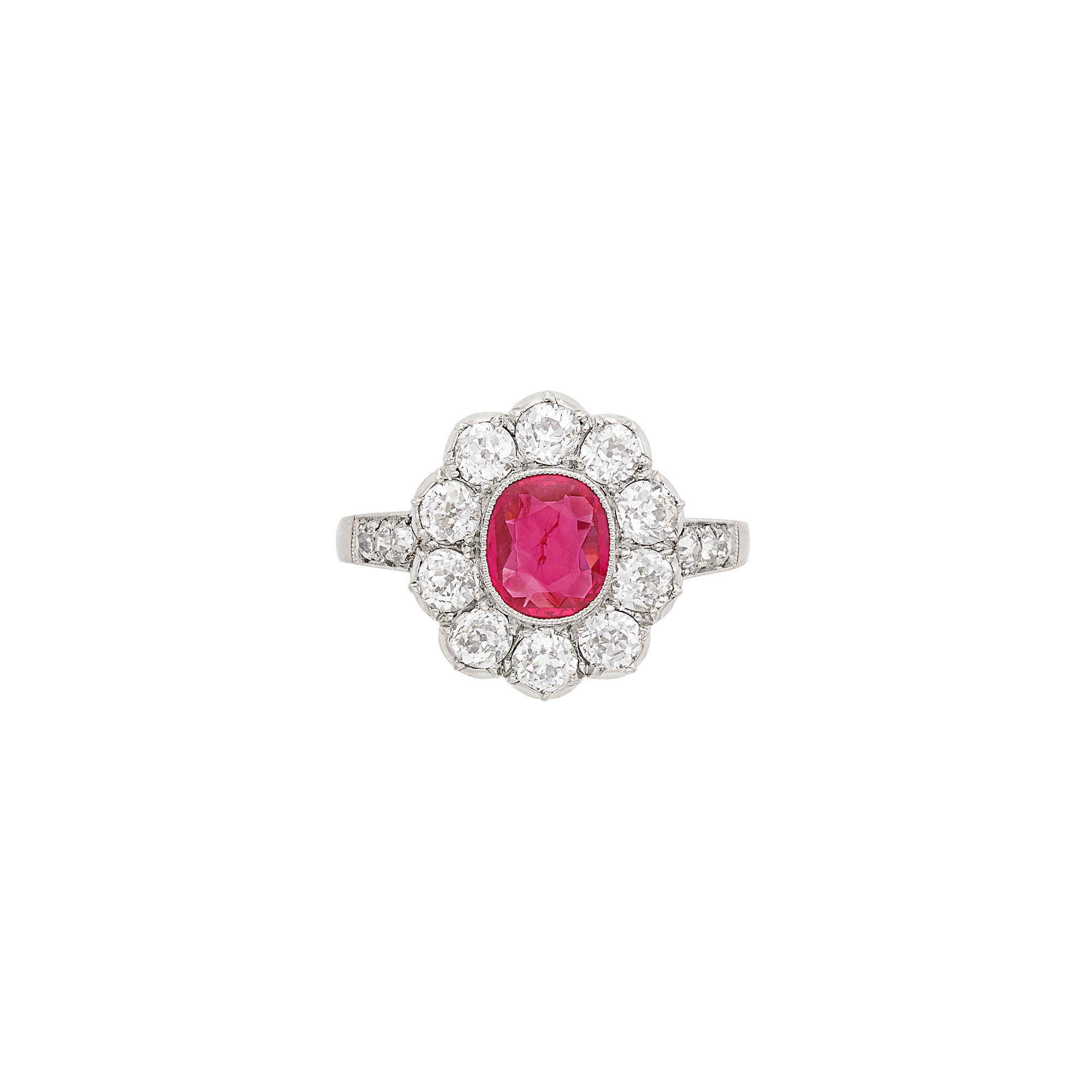 Lot image - White Gold, Ruby and Diamond Ring