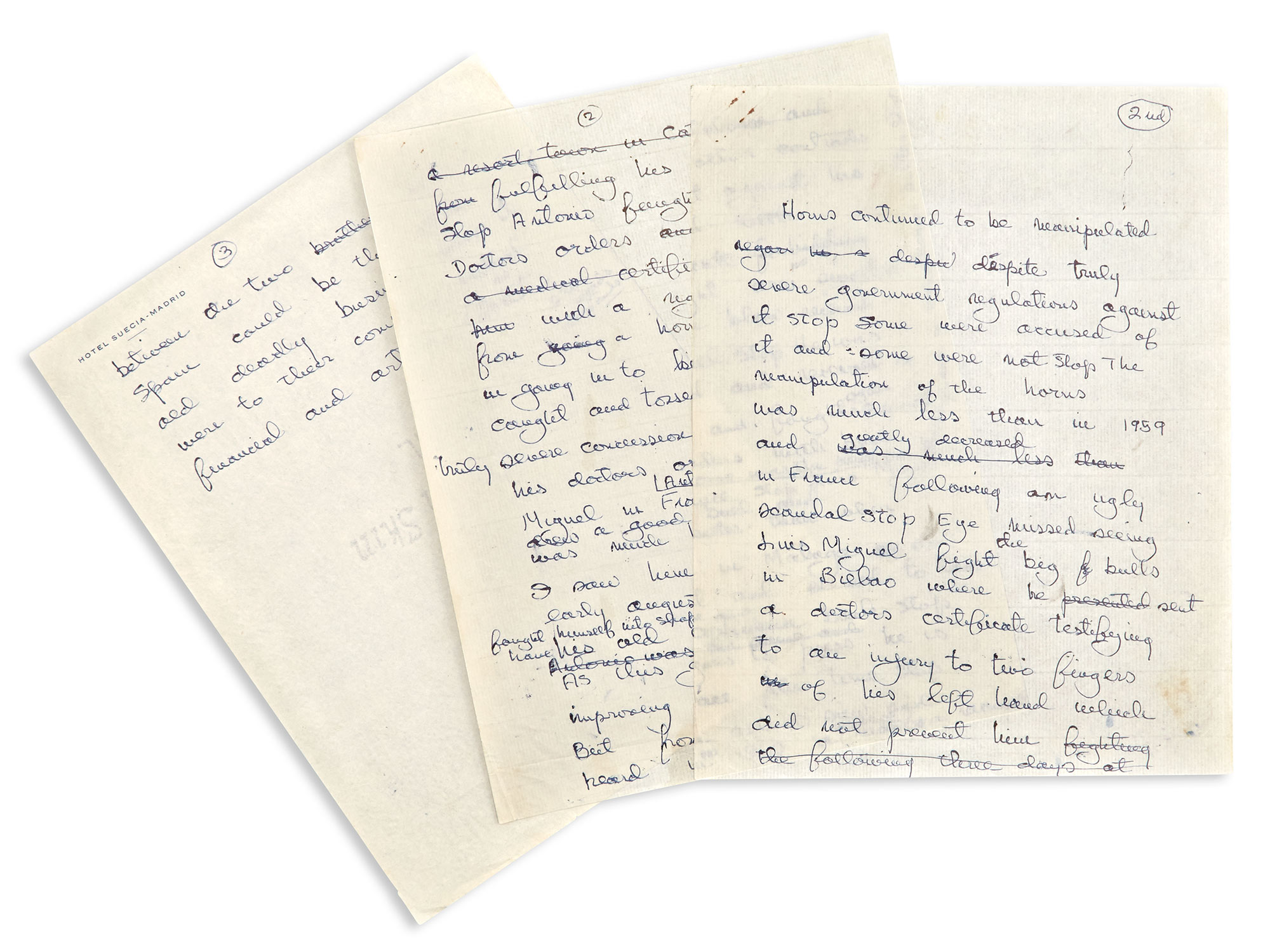 Lot image - HEMINGWAY, ERNEST  Autograph manuscript comprising three drafts of the epilogue of The Dangerous Summer, Hemingways final published work