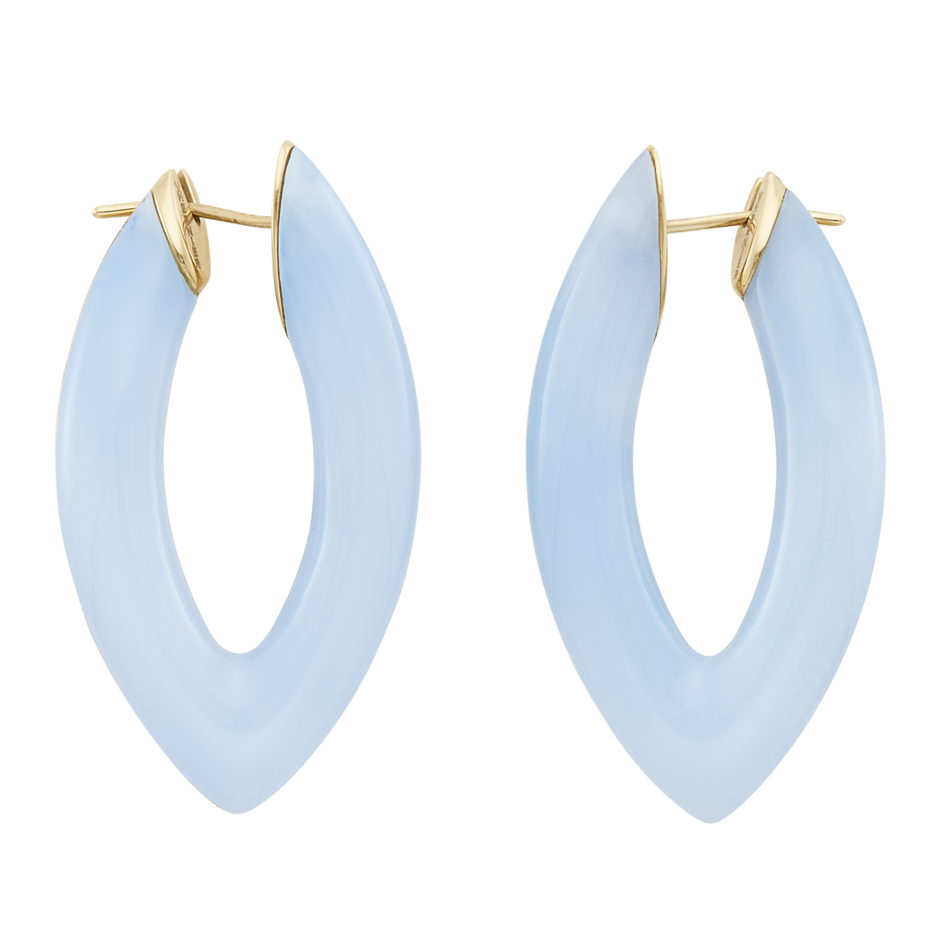 Lot image - Pair of Gold and Blue Chalcedony Hoop Earrings, Vhernier