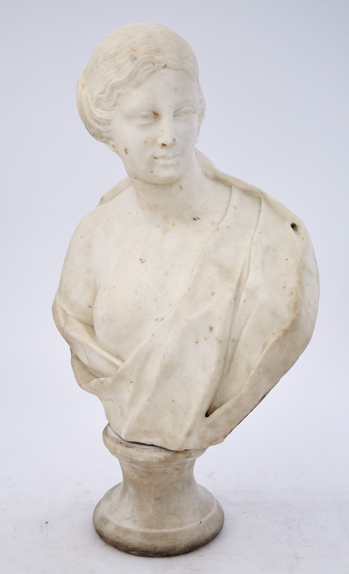 Lot image - White Marble Bust of a Woman