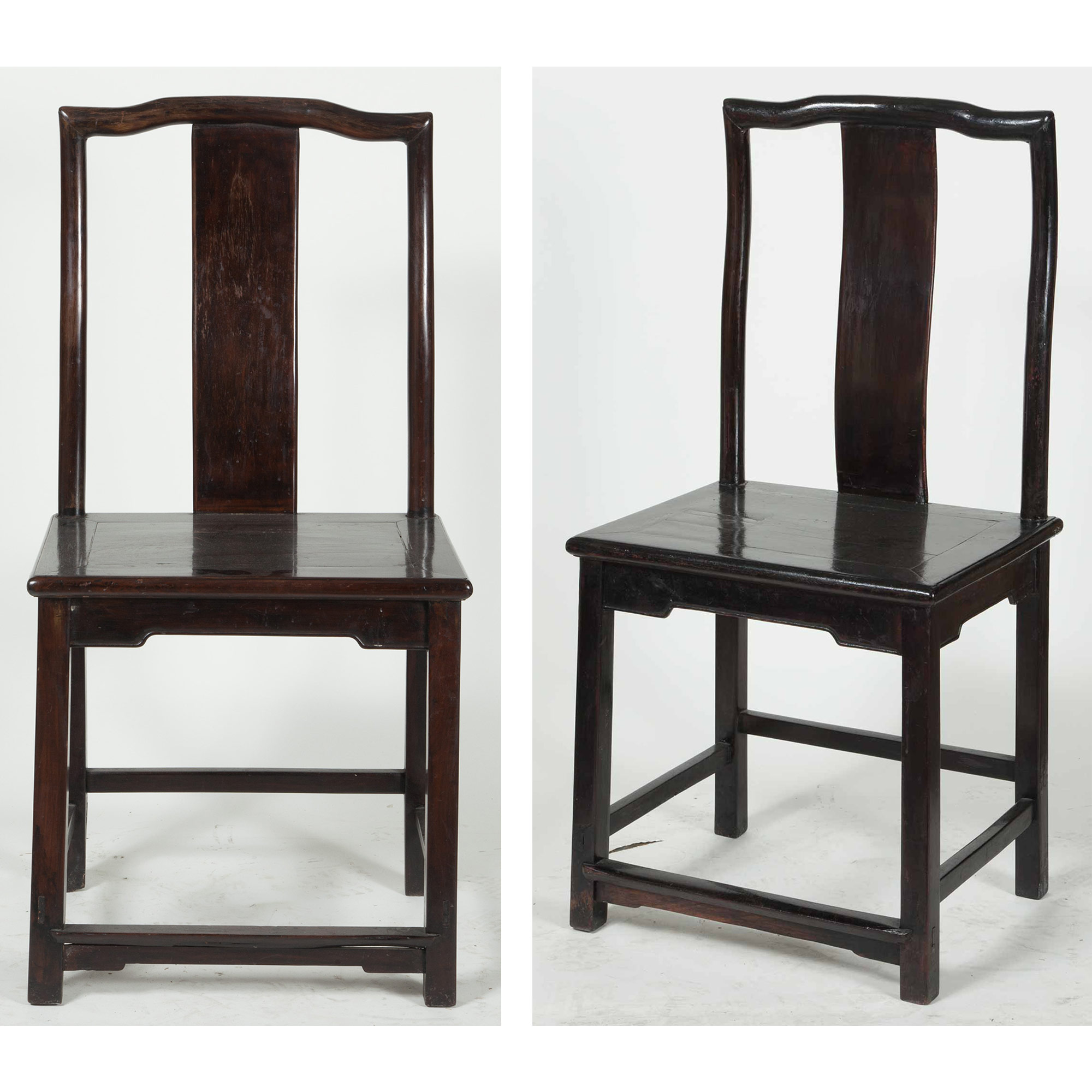Lot image - Pair of Chinese Painted Hardwood Side Chairs