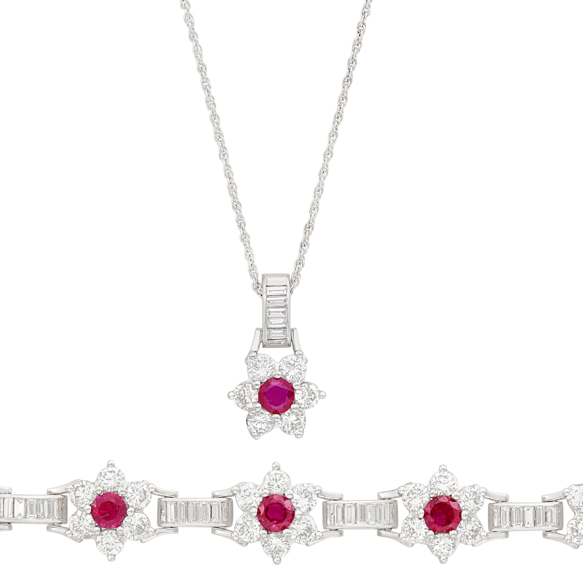 Lot image - Platinum, Ruby and Diamond Bracelet and Pendant with White Gold Chain