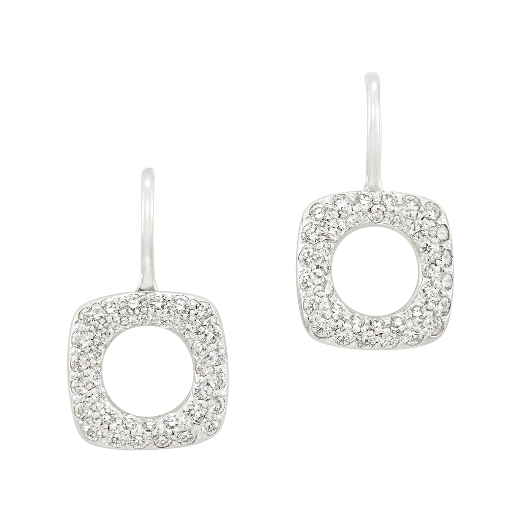 Lot image - Pair of White Gold and Diamond Earrings, Tiffany & Co.