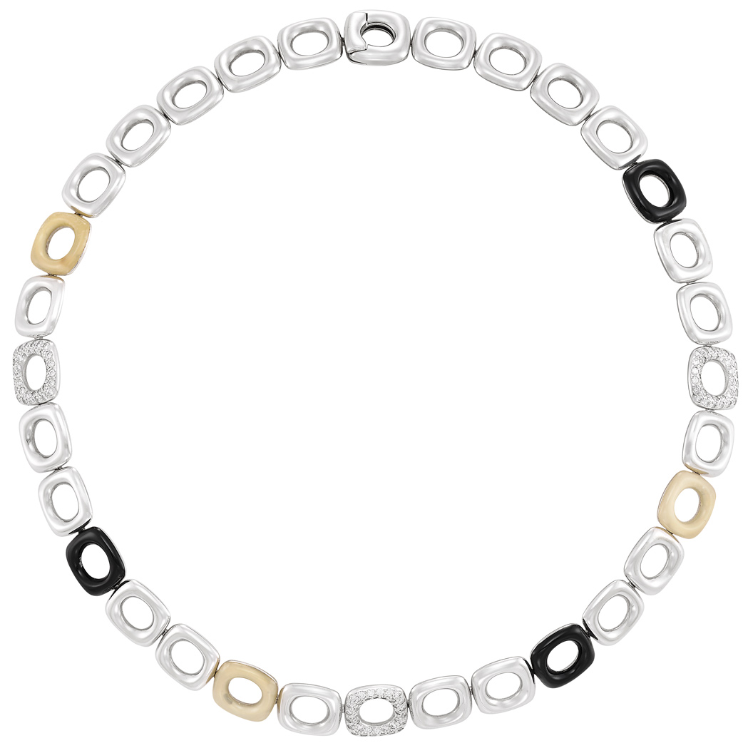Lot image - White Gold, White Chalcedony, Black Onyx and Diamond Link Necklace, Tiffany & Co.