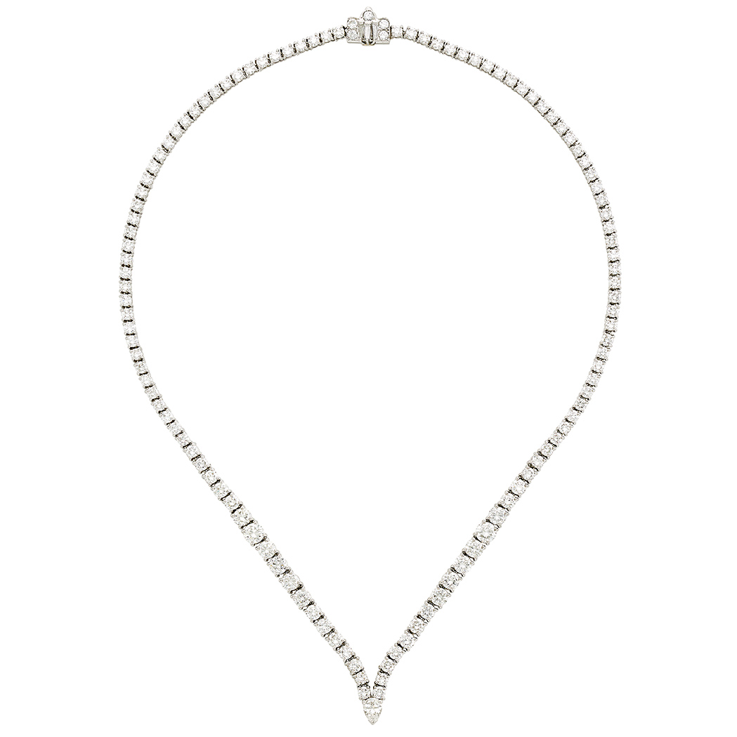 Lot image - Platinum and Diamond Necklace, Cartier