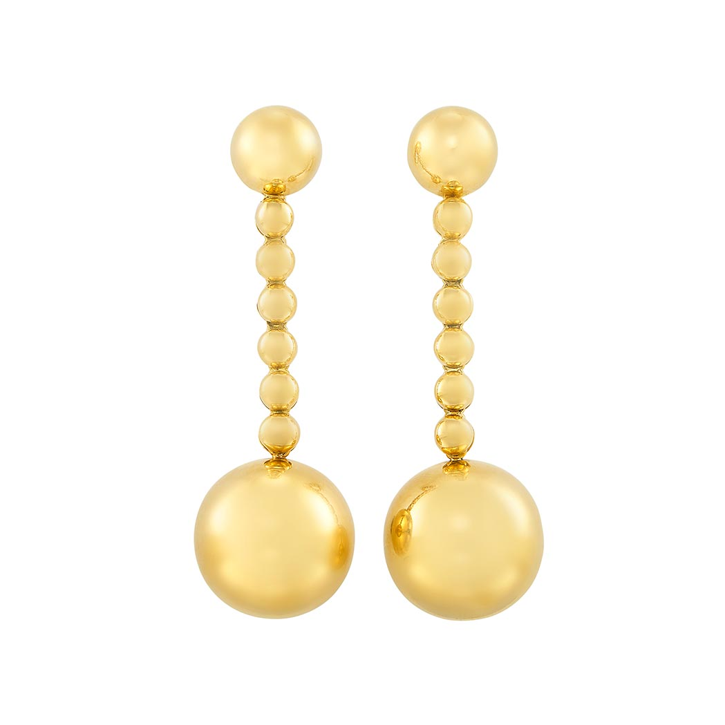 Lot image - Pair of Gold Ball Pendant-Earclips, de Grisogono
