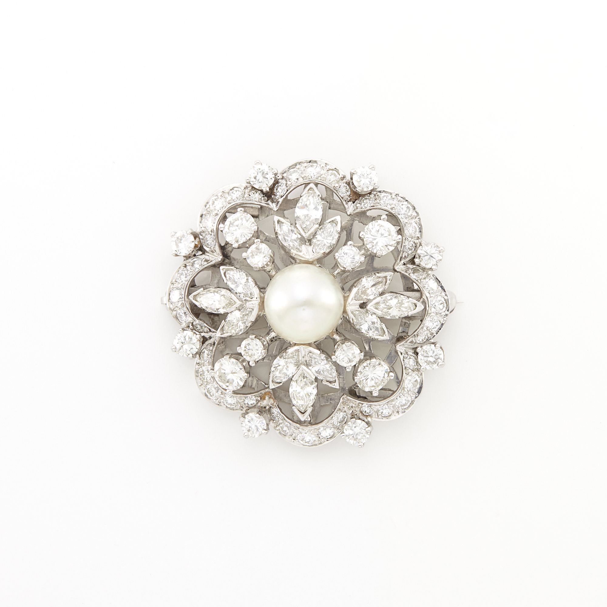 Lot image - Platinum, Cultured Pearl and Diamond Brooch