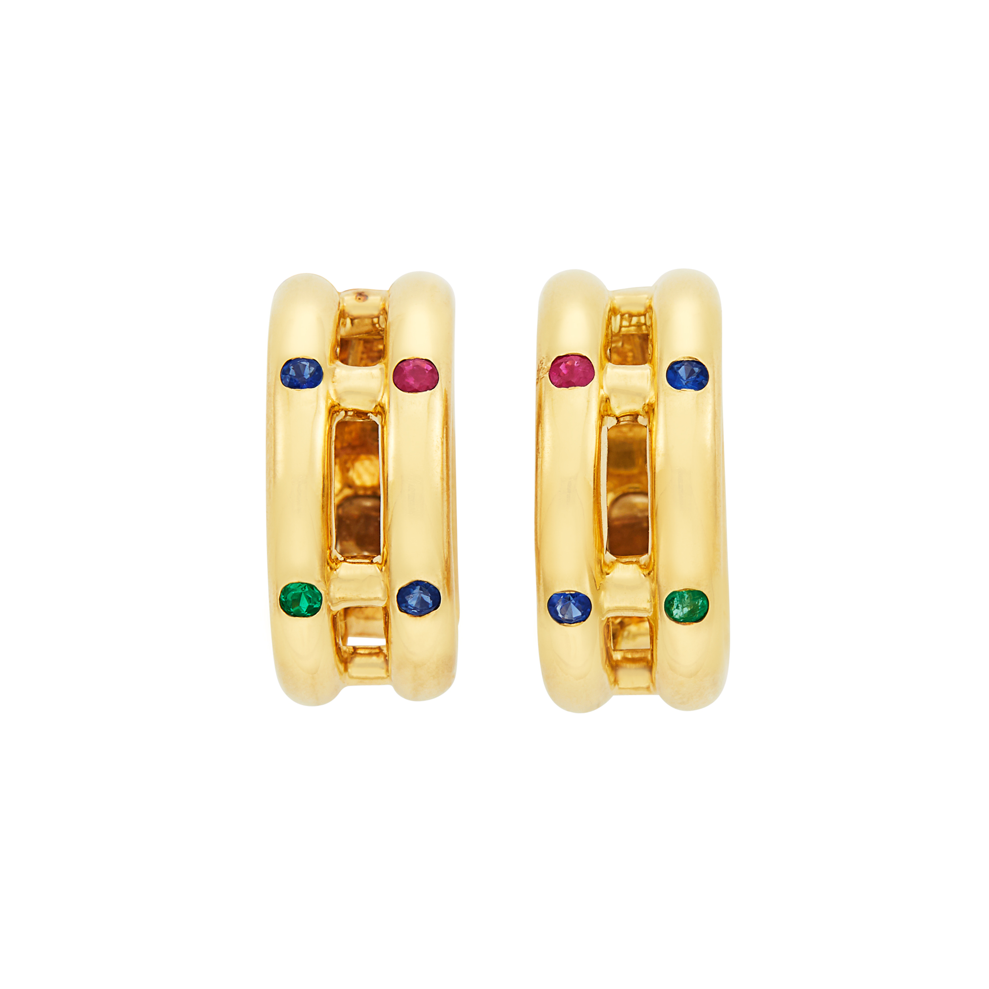 Lot image - Pair of Gold and Gem-Set Hoop Earclips, Chopard, Paris