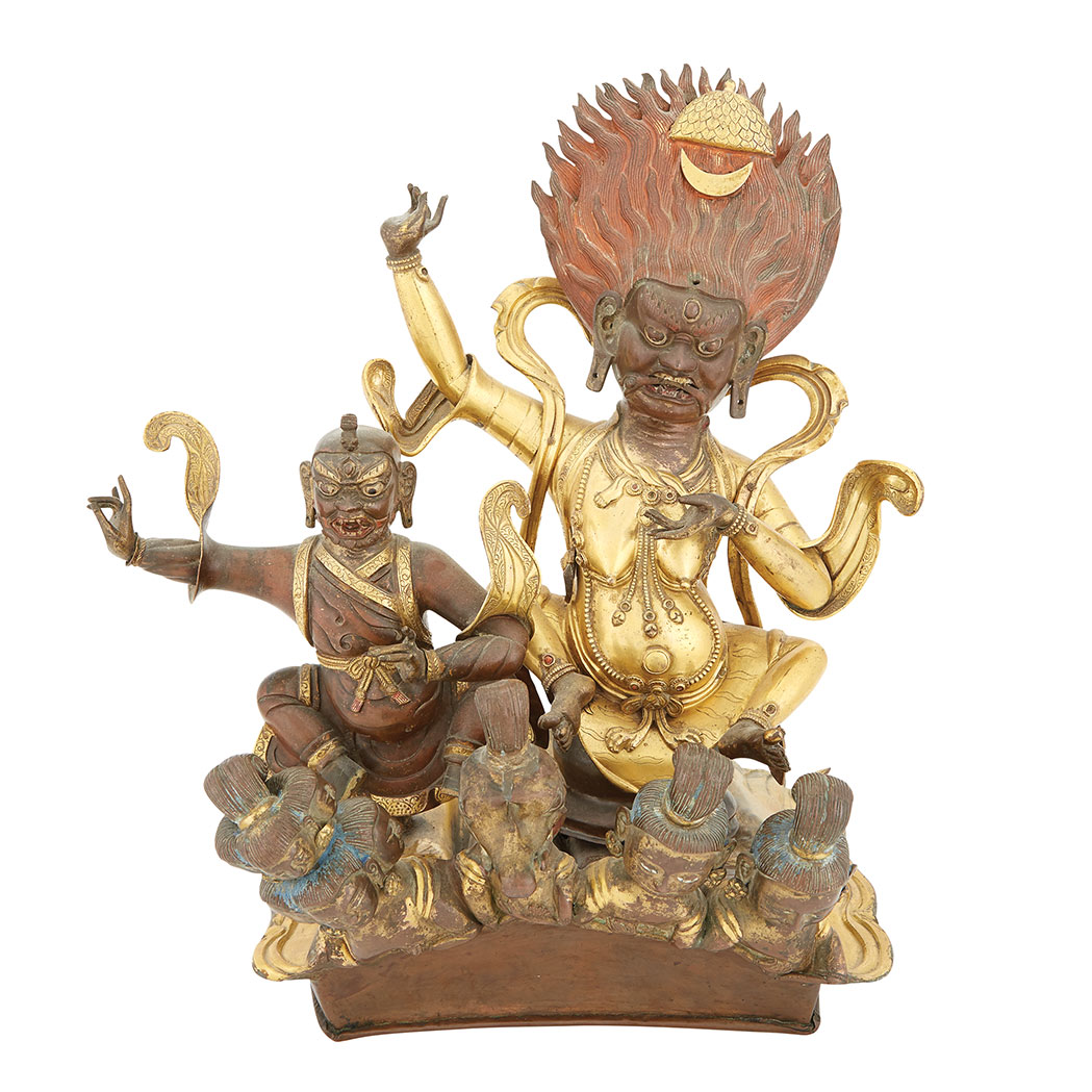 Lot image - Inner Mongolian Copper and Gilt-Bronze Composite Palden Lhamo Figural Group