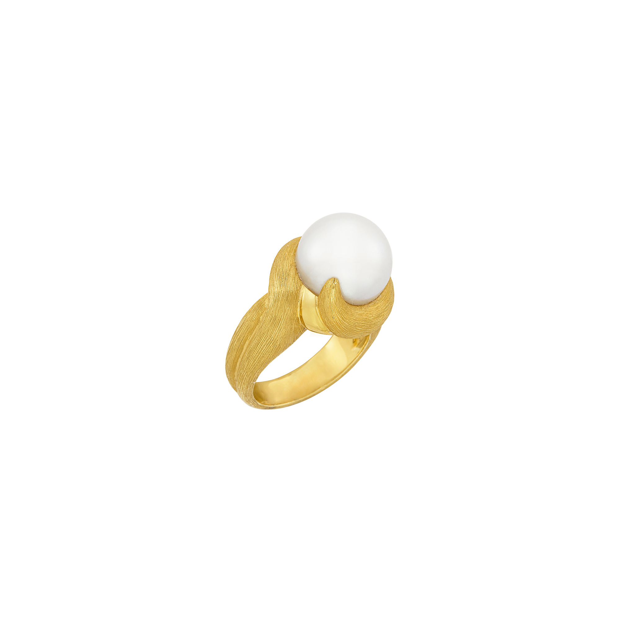 Lot image - Gold and South Sea Cultured Pearl Ring, Henry Dunay