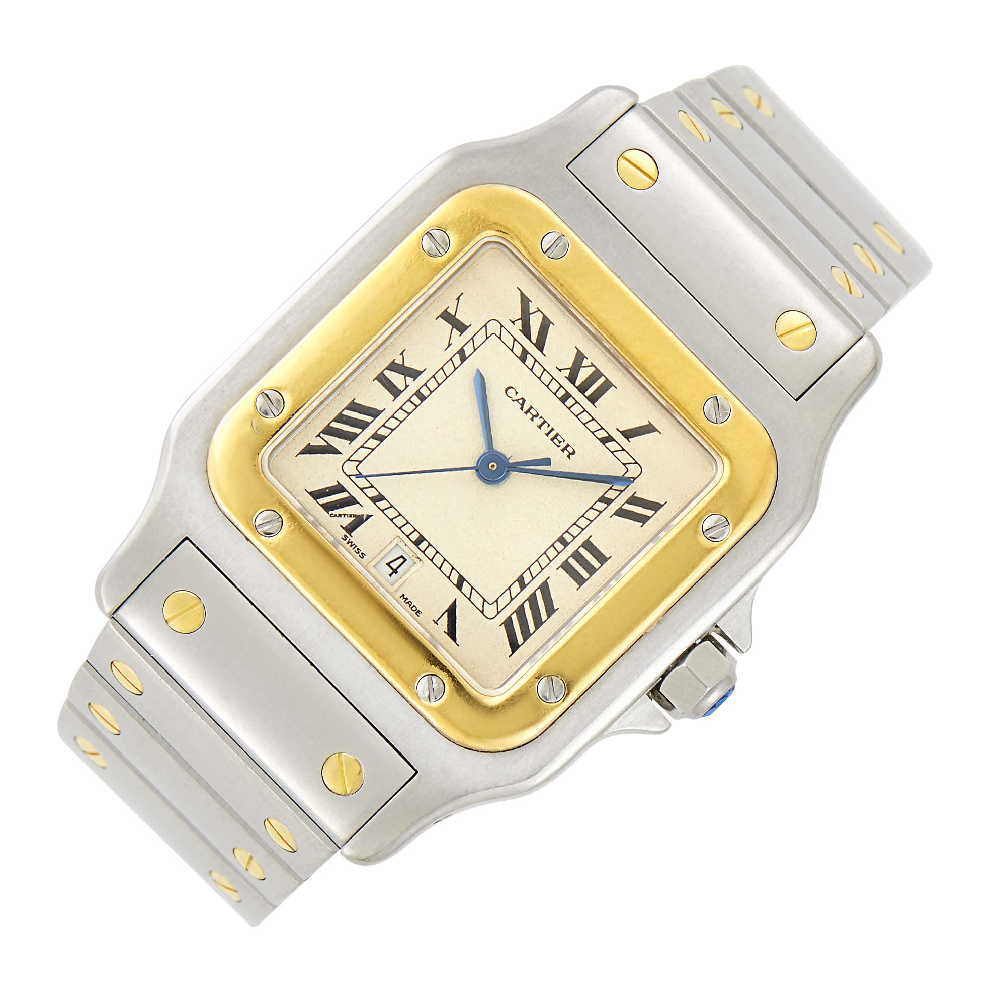 Lot image - Cartier Stainless Steel and Gold Santos Wristwatch
