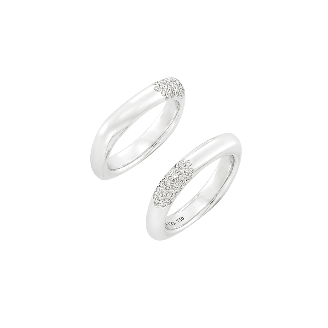 Lot image - Pair of White Gold and Diamond Rings, Tiffany & Co.