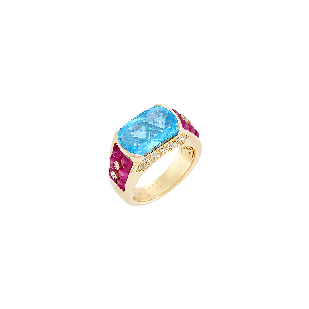 Lot image - Gold, Blue Topaz, Ruby and Diamond Ring