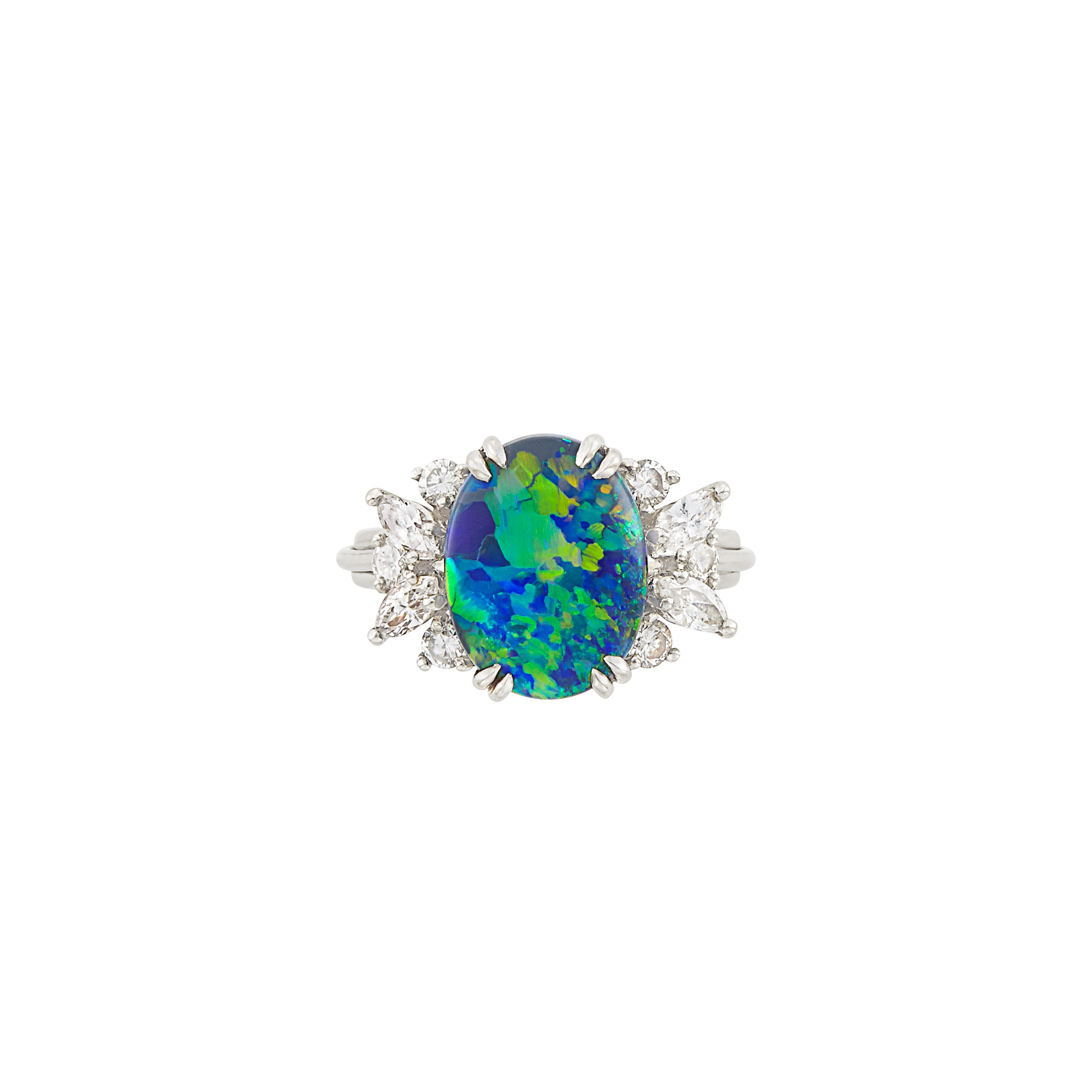 Lot image - Platinum, Black Opal and Diamond Ring