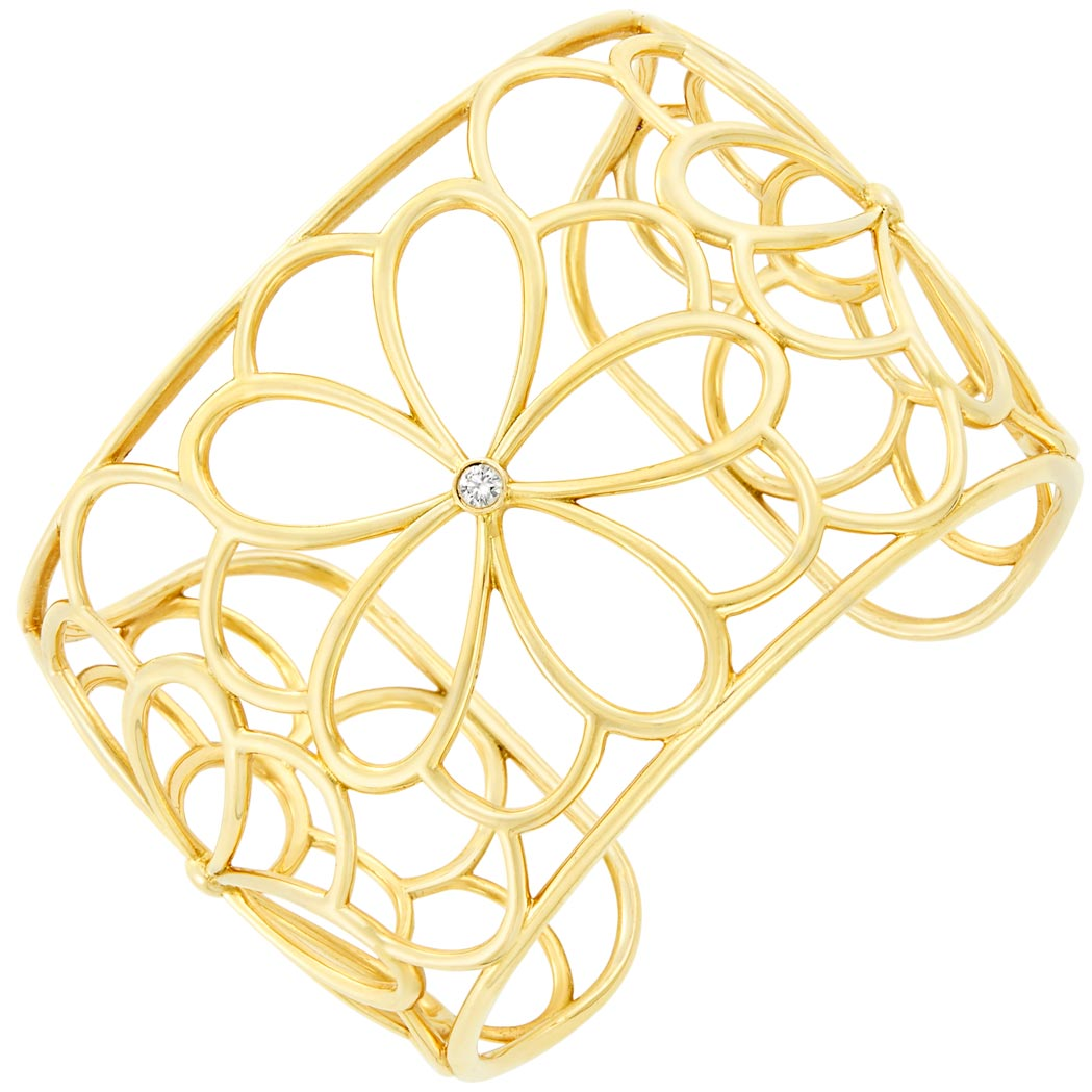 Lot image - Gold and Diamond 'Petals' Cuff Bangle Bracelet, Tiffany & Co.