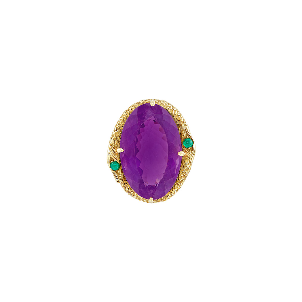 Lot image - Gold, Amethyst and Cabochon Emerald Snake Ring, Boris LeBeau