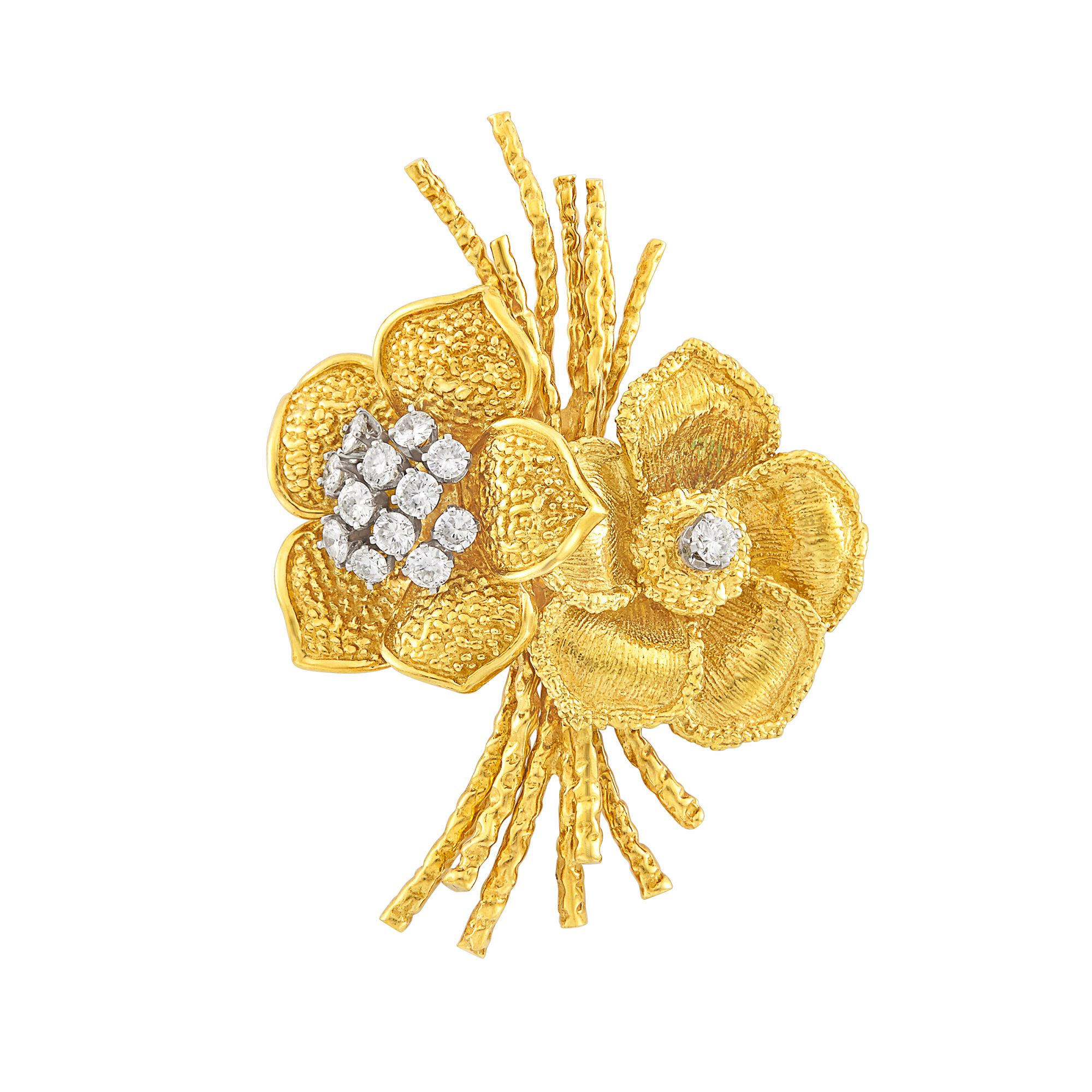 Lot image - Gold and Diamond Double Flower Brooch