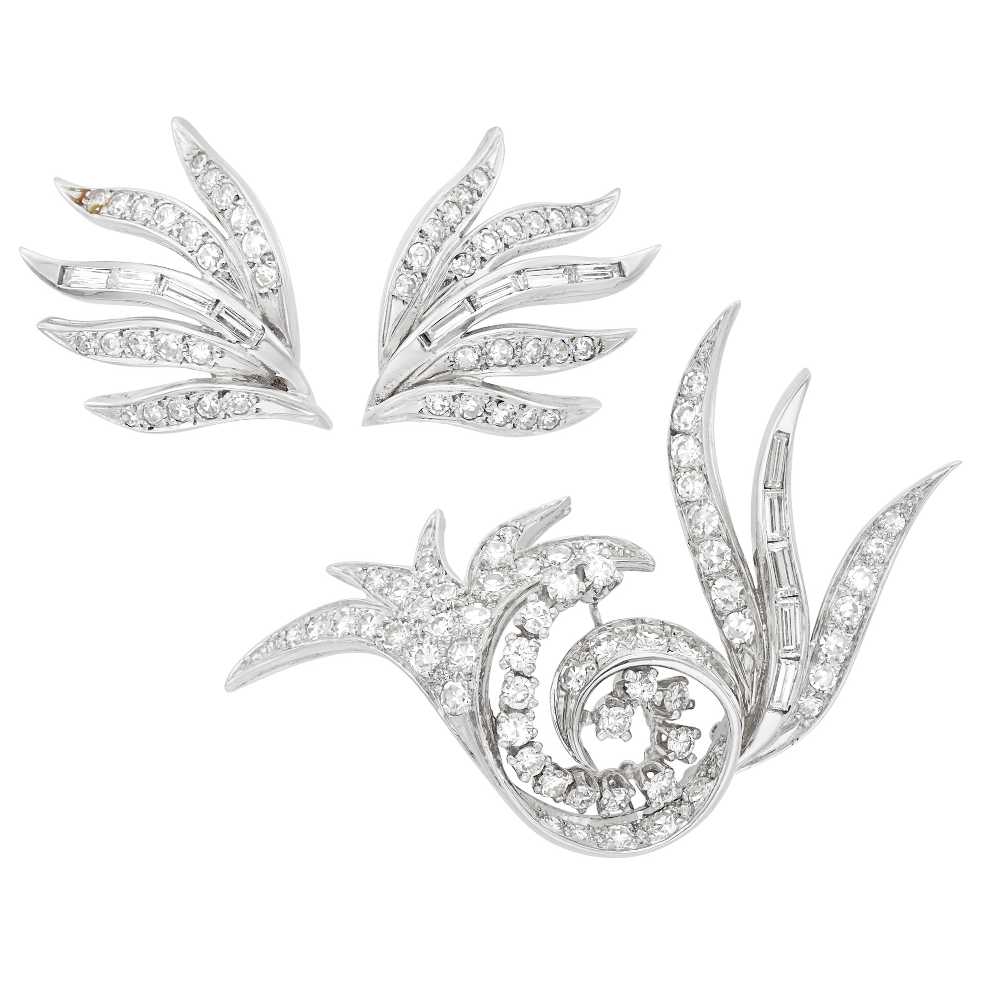 Lot image - White Gold and Diamond Spray Brooch and Pair of Earclips