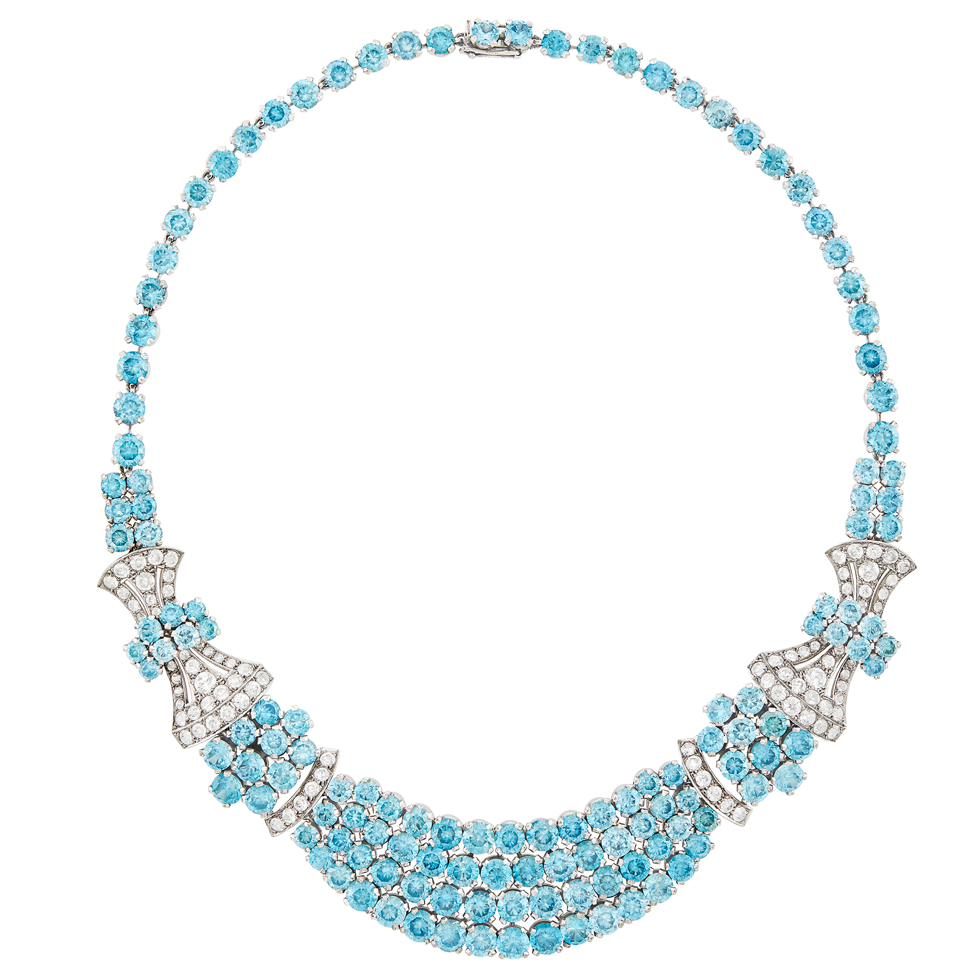 Lot image - Birks Low Karat White Gold, Blue Zircon and White Sapphire Necklace