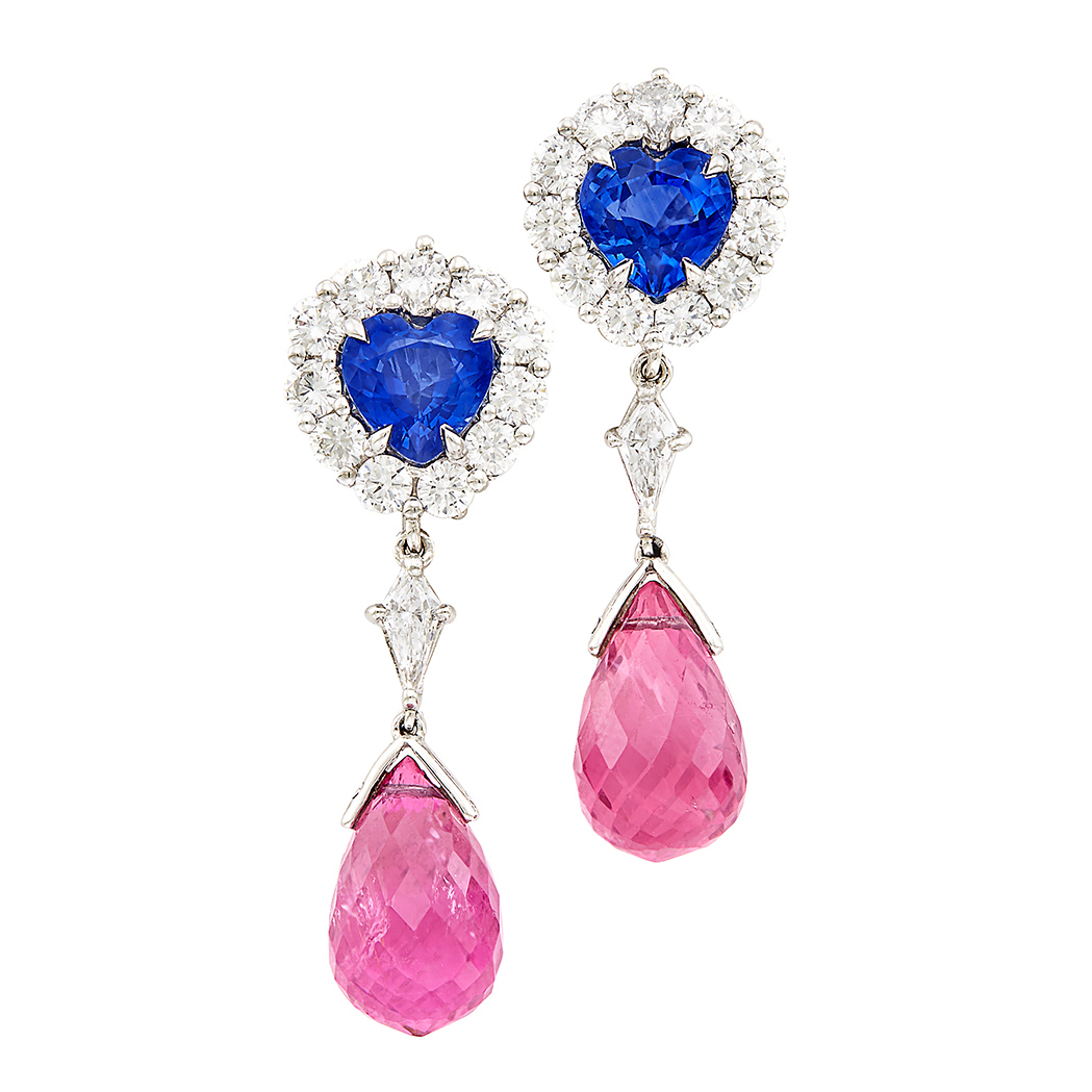 Lot image - Pair of Platinum, Sapphire, Diamond and Pink Tourmaline Briolette Pendant-Earclips