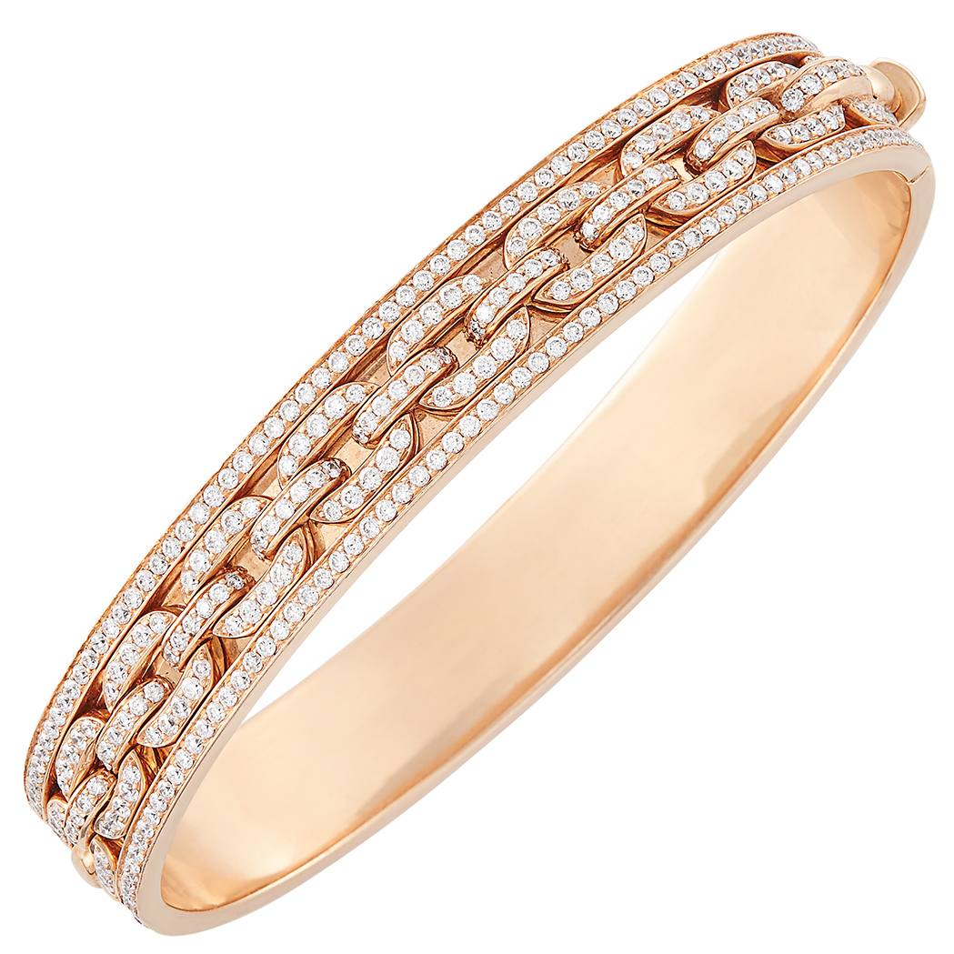 Lot image - Rose Gold and Diamond Bangle Bracelet, Ralph Lauren