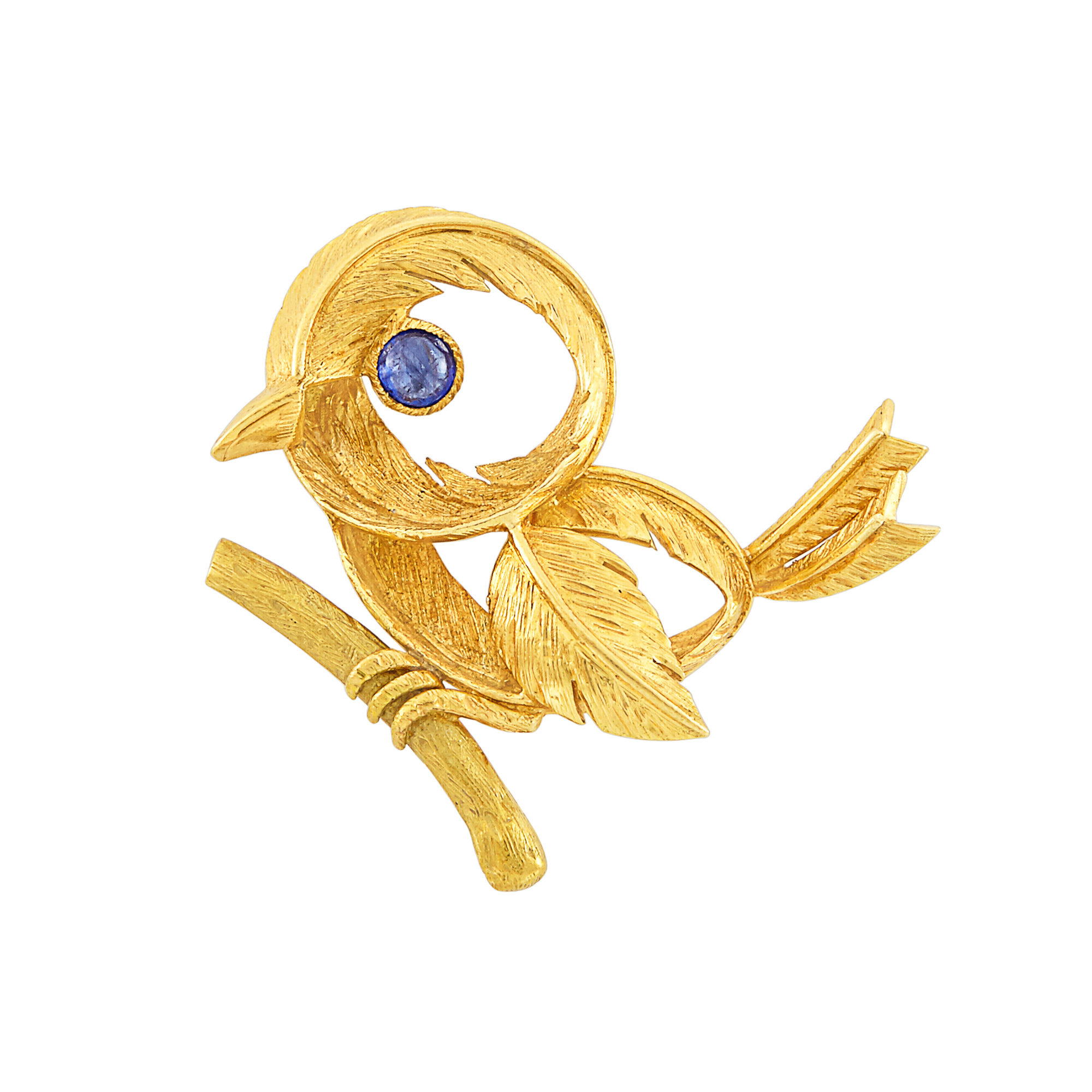 Lot image - Gold and Cabochon Sapphire Bird Clip-Brooch, Hermès, Paris