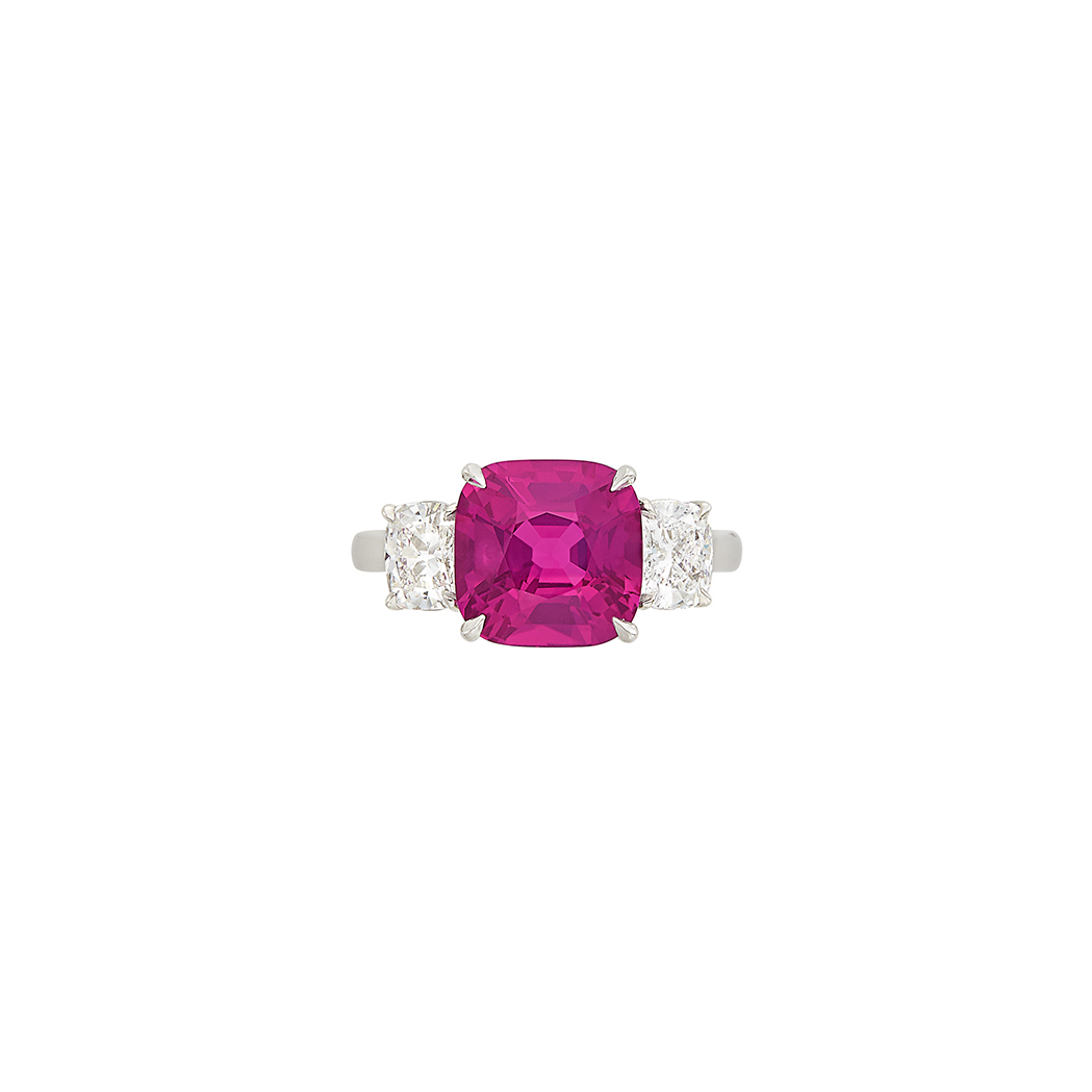 Lot image - Platinum, Pink Sapphire and Diamond Ring