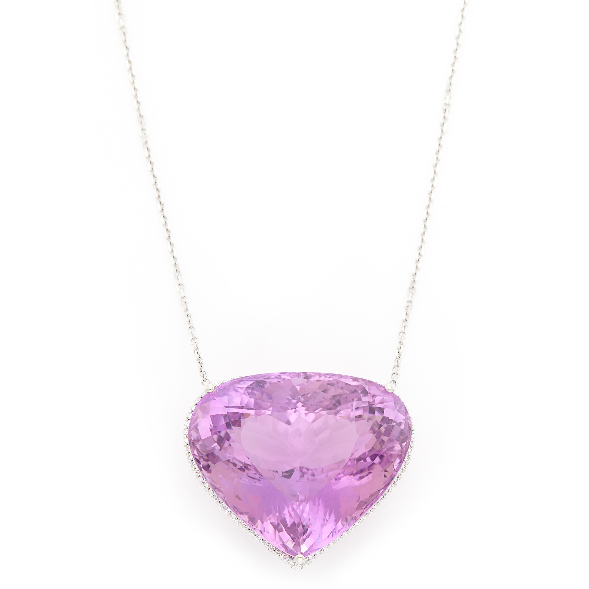Lot image - White Gold, Kunzite and Diamond Pendant with Chain