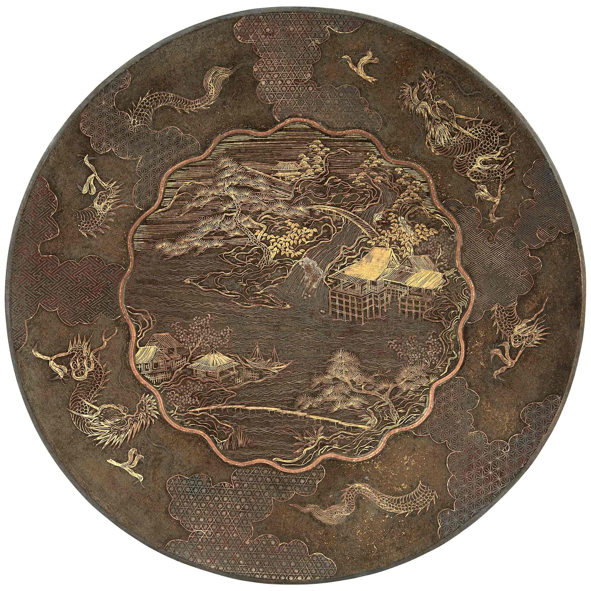 Lot image - Japanese Mixed Metal Inlaid Iron Dish