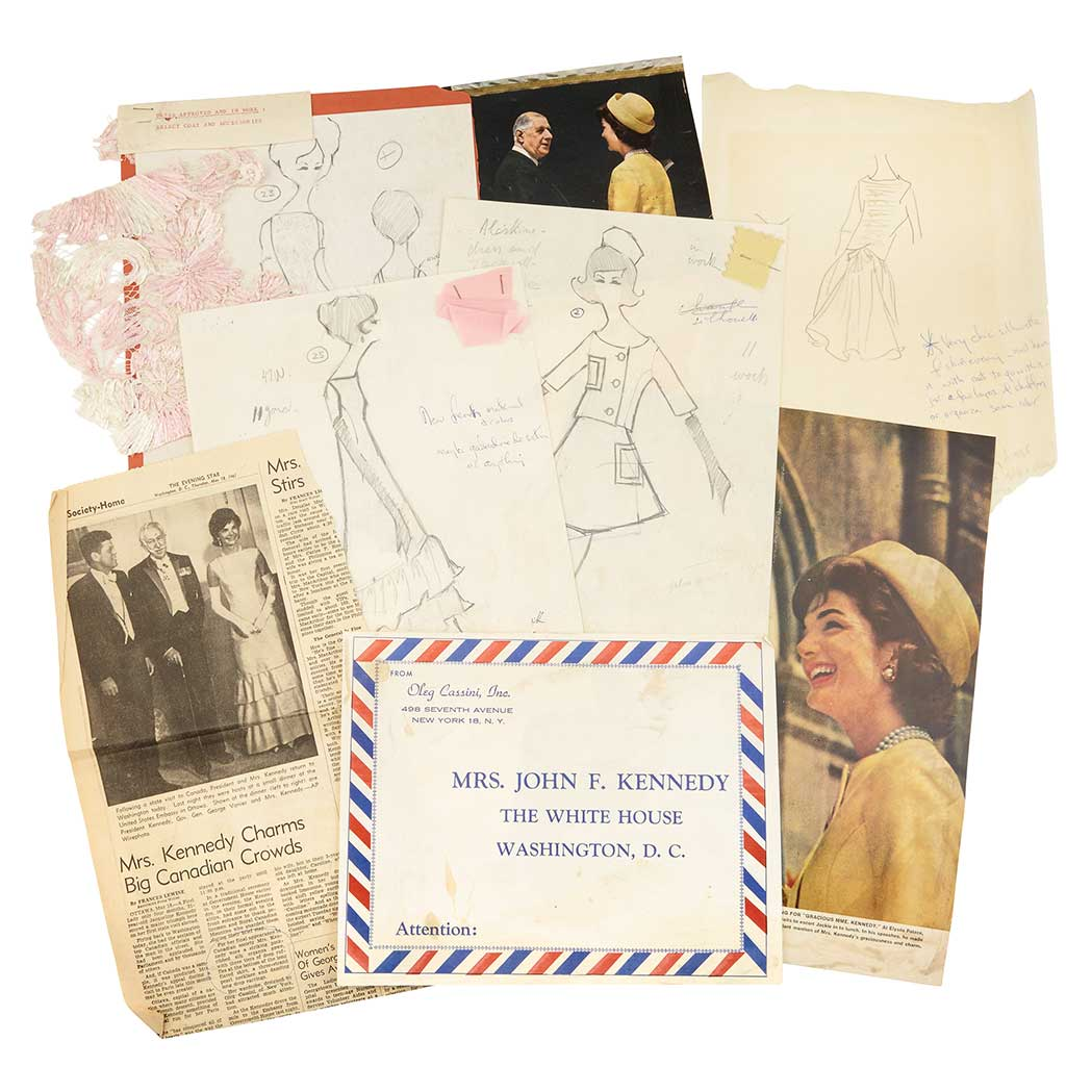 Lot image - [FASHION - KENNEDY, JACQUELINE]  Archive of original fashion designs and sketches by Irwin Karabell for designer Oleg Cassini, many bearing notes and annotations by Mrs. Kennedy and including original fabric swatches.
