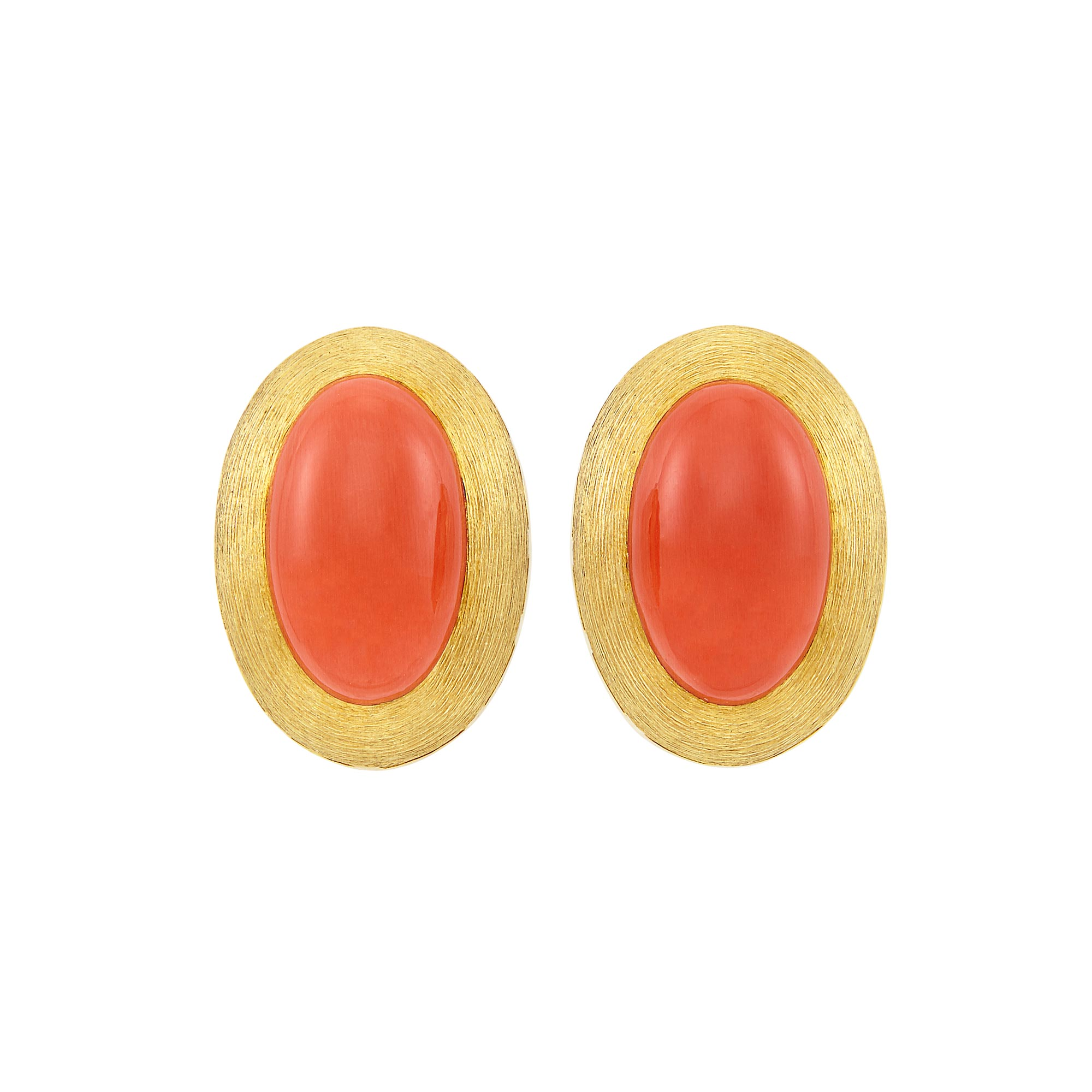 Lot image - Pair of Gold and Coral Earclips, Henry Dunay
