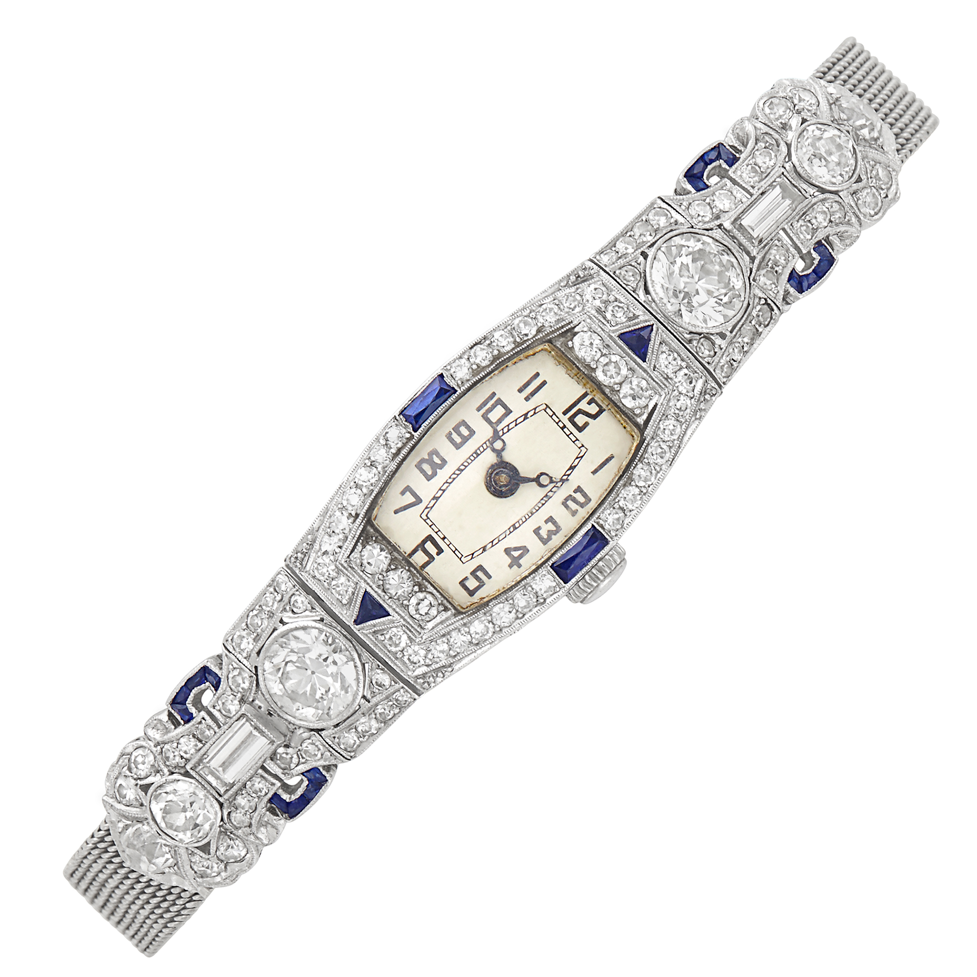 Lot image - Platinum, Low Karat White Gold, Diamond and Synthetic Sapphire Mesh Wristwatch