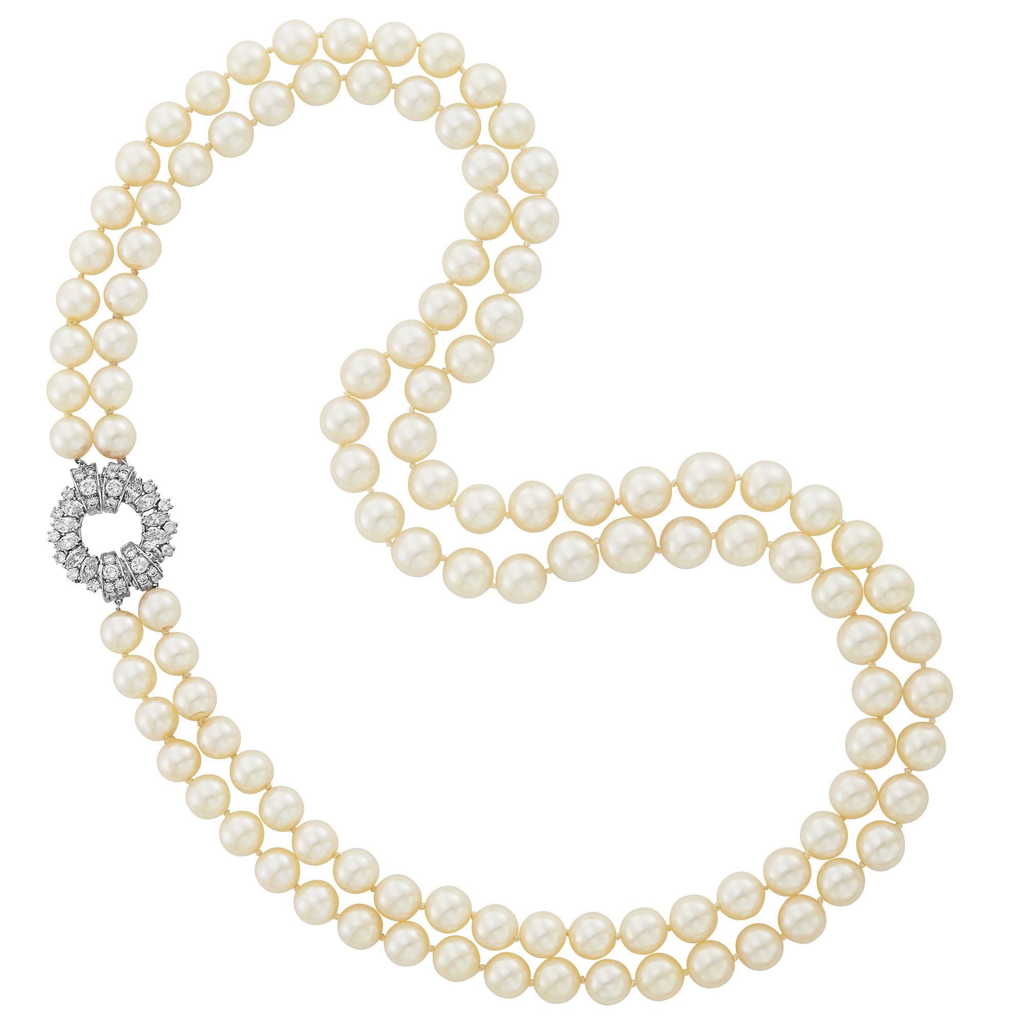 Lot image - Double Strand Cultured Pearl Necklace with Platinum and Diamond Clasp