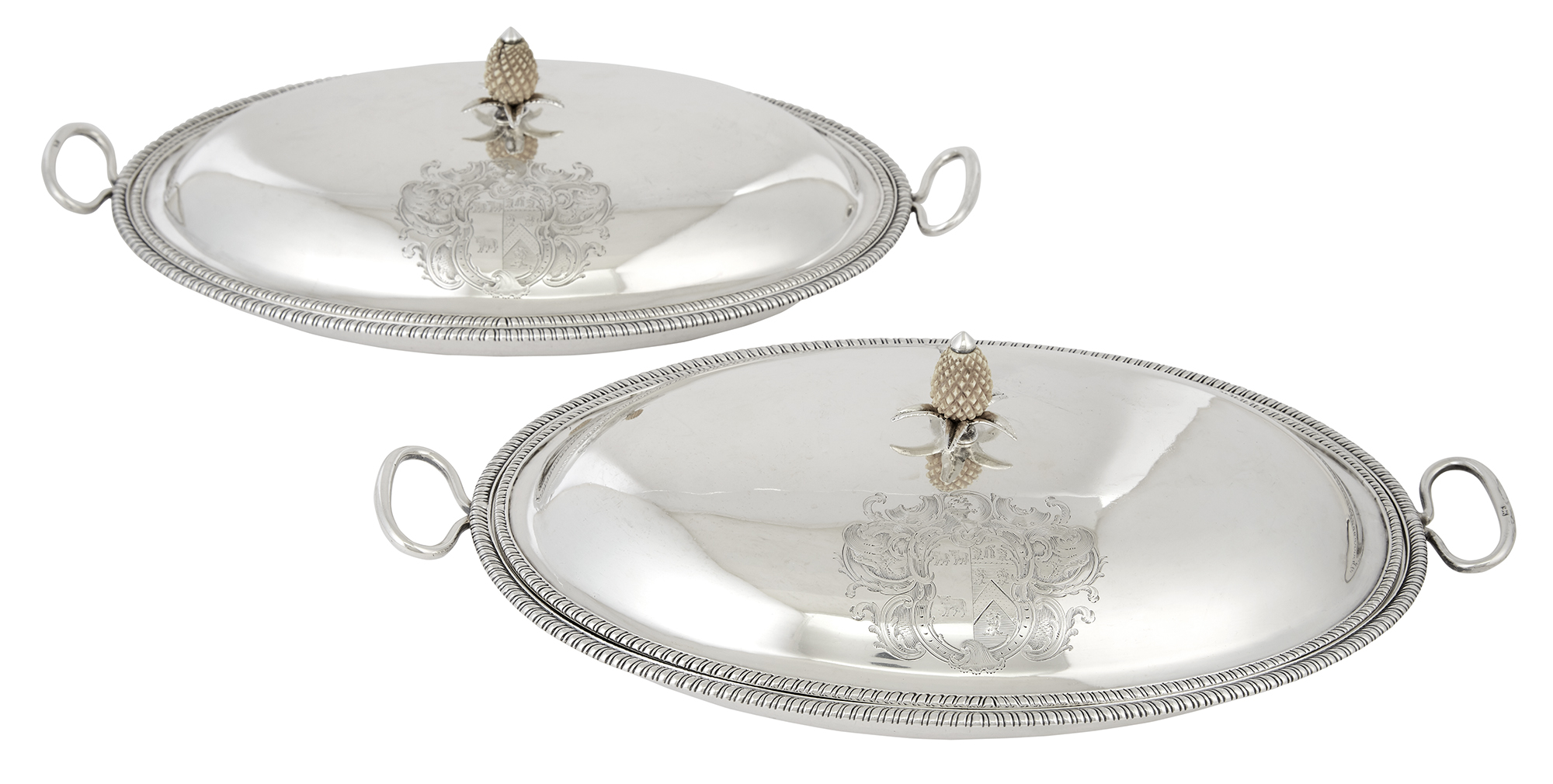 Lot image - Pair of George III Sterling Silver Covered Dishes
