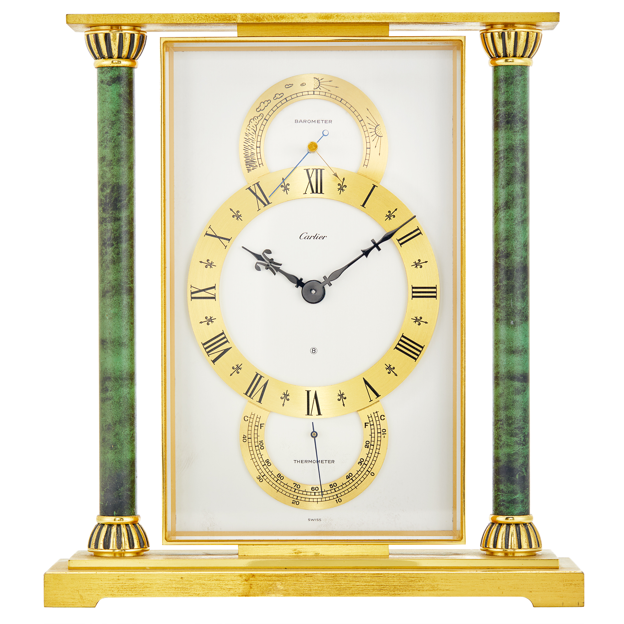 Lot image - Cartier Gilt-Metal and Faux Marble Mantle Clock