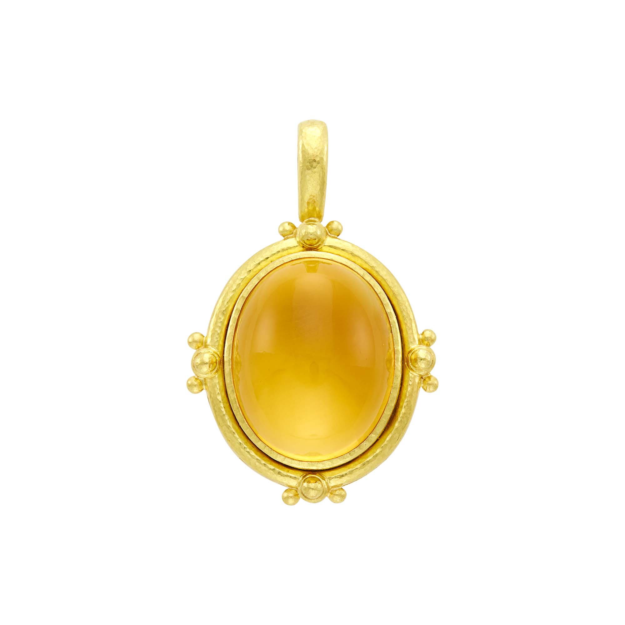 Lot image - Elizabeth Locke Hammered Gold, Cabochon Citrine and Mother-of-Pearl Pendant