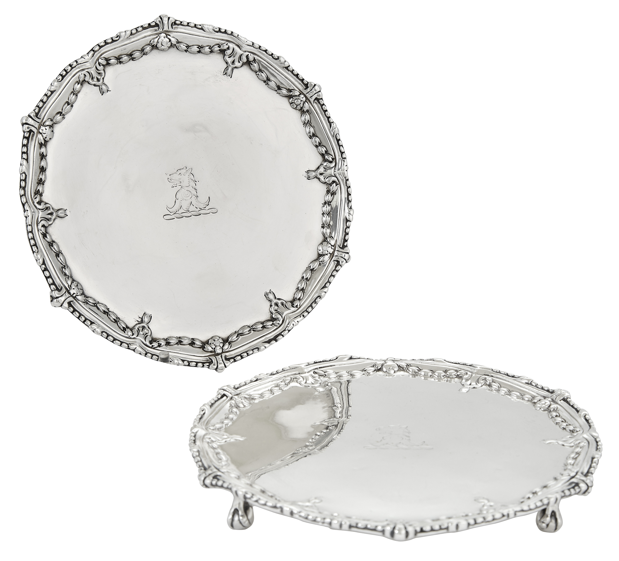 Lot image - Pair of George III Sterling Silver Waiters
