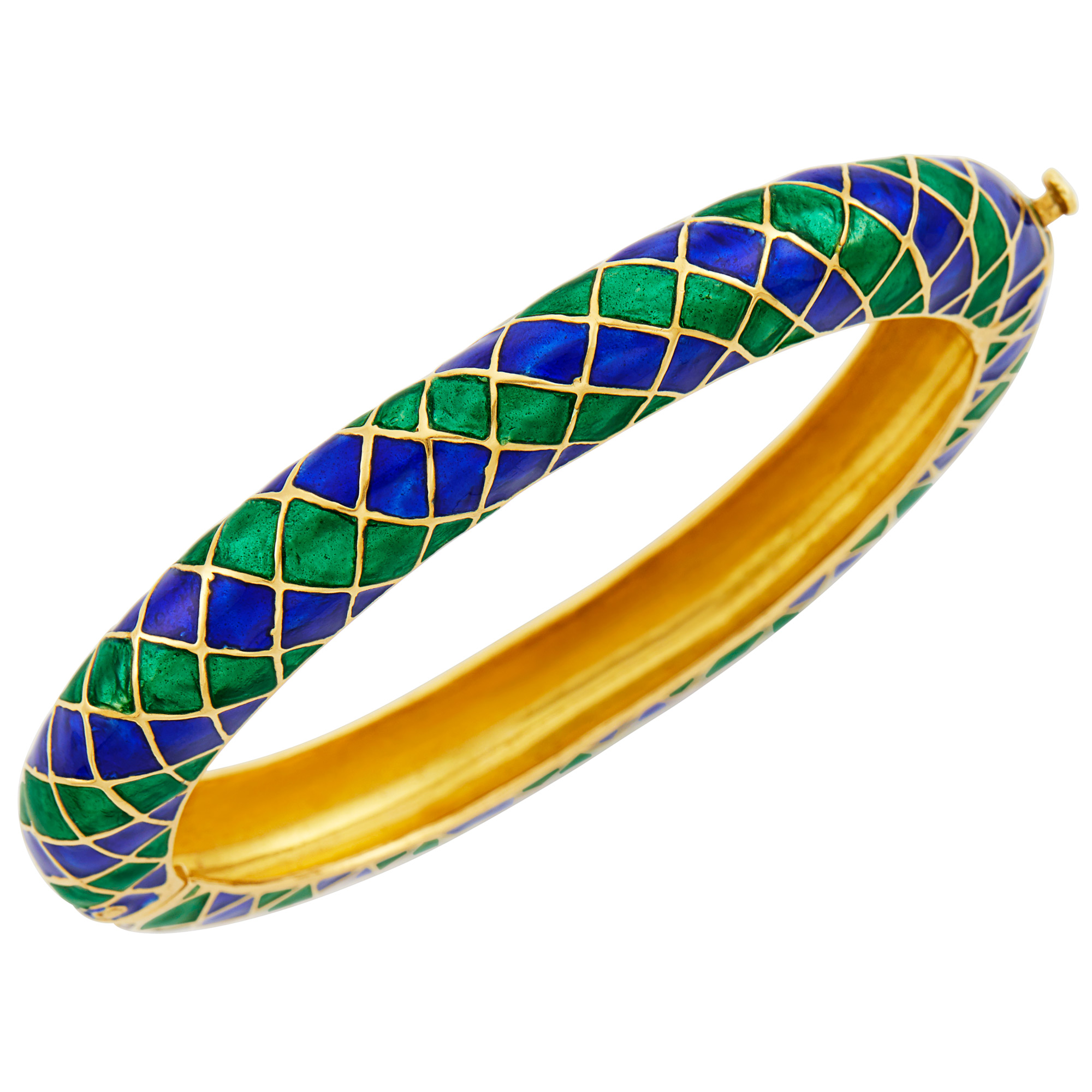 Lot image - Gold and Blue and Green Enamel Bangle Bracelet