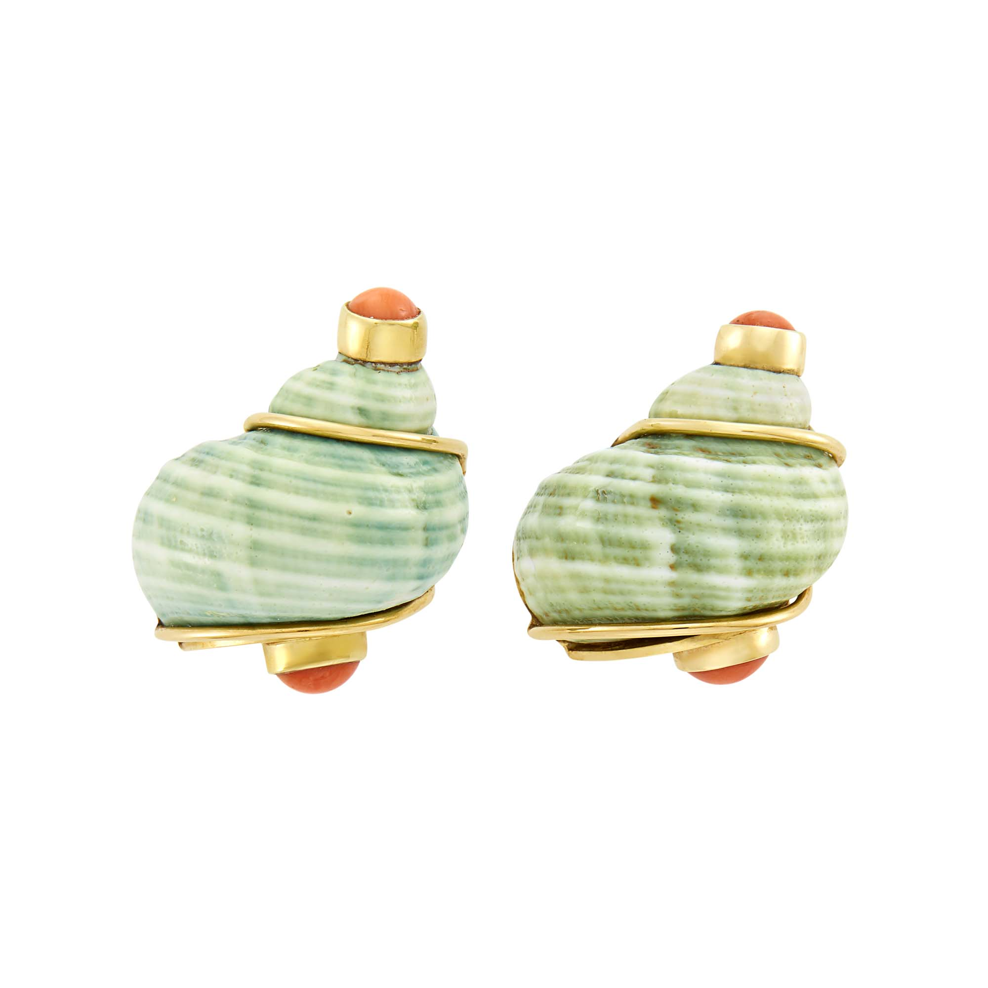 Lot image - Seaman Schepps Pair of Gold, Shell and Coral Turbo Shell Earclips