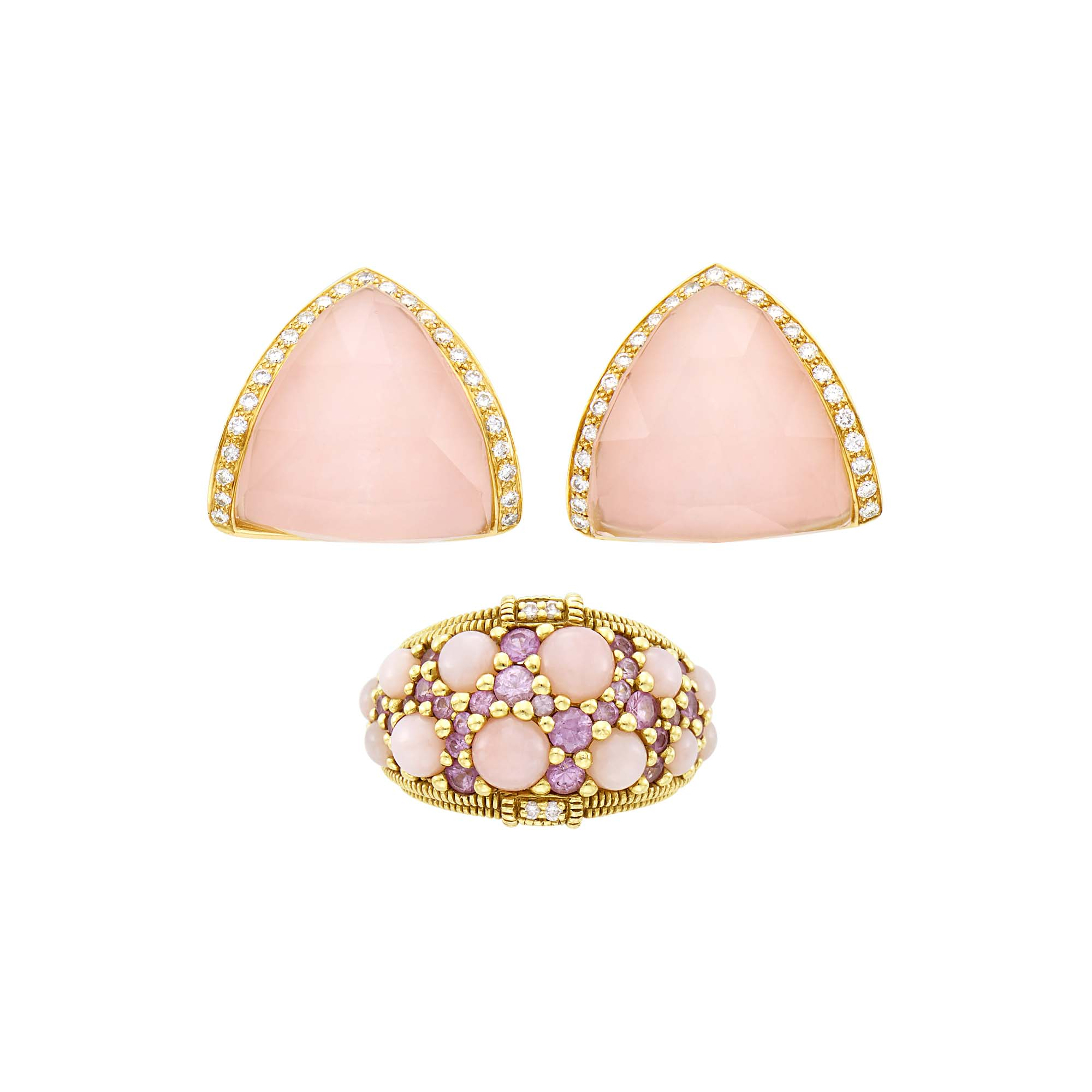 Lot image - Pair of Gold, Pink Opal and Diamond Earrings and Judith Ripka Gold, Pink Opal, Pink Sapphire and Diamond Ring