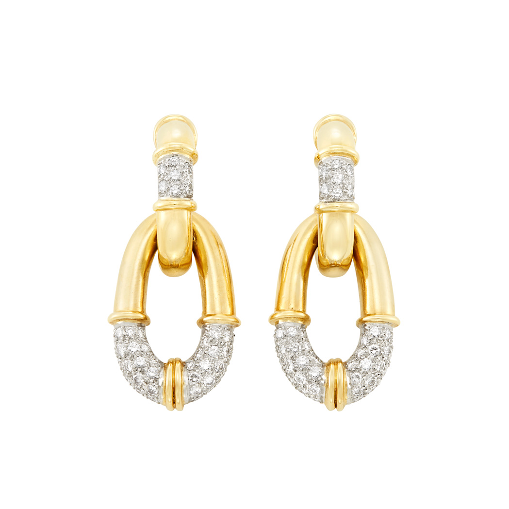 Lot image - Pair of Two-Color Gold and Diamond Pendant-Earclips